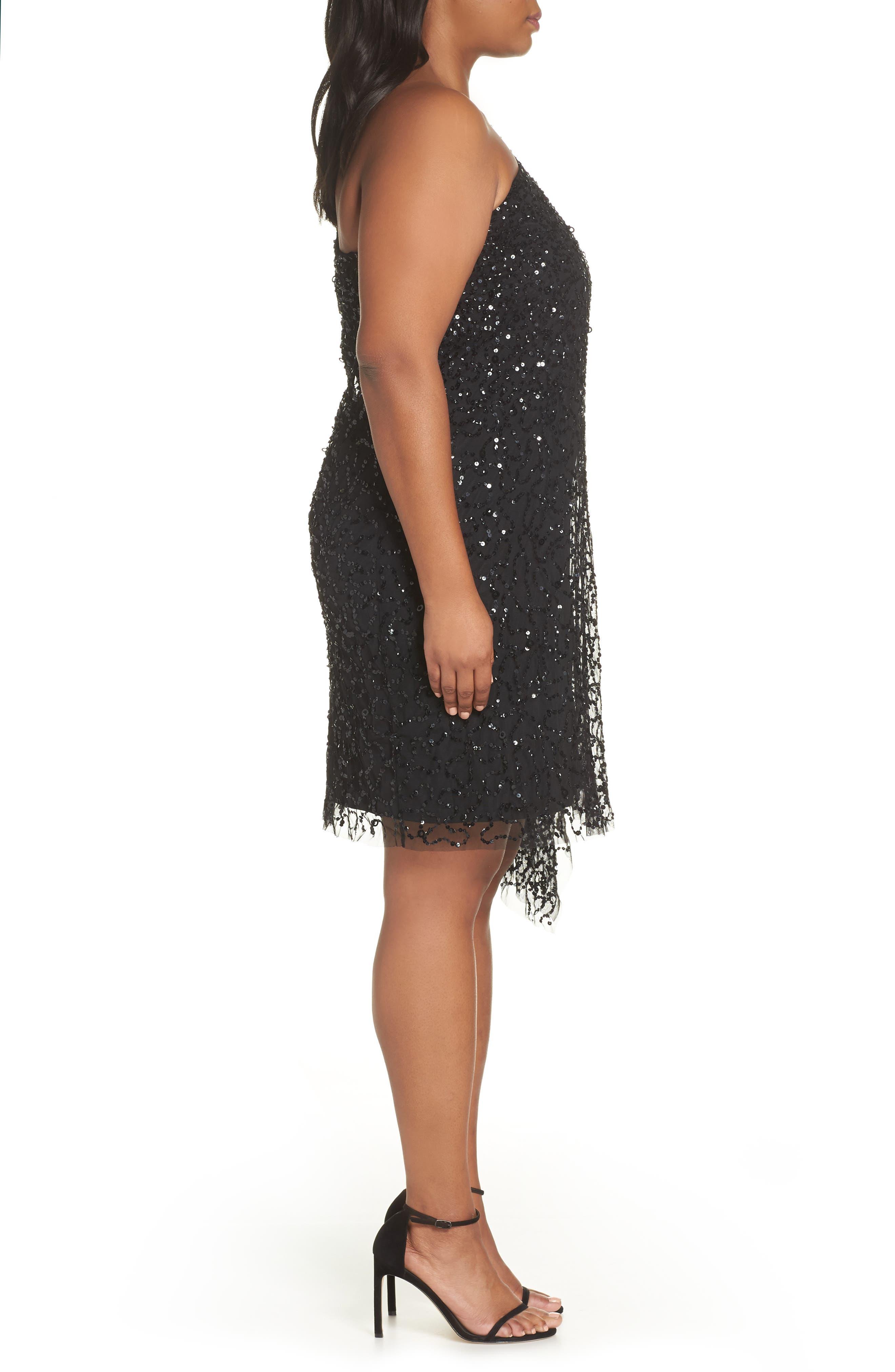 Beaded One-Shoulder Sheath Dress,                             Alternate thumbnail 3, color,                             BLACK