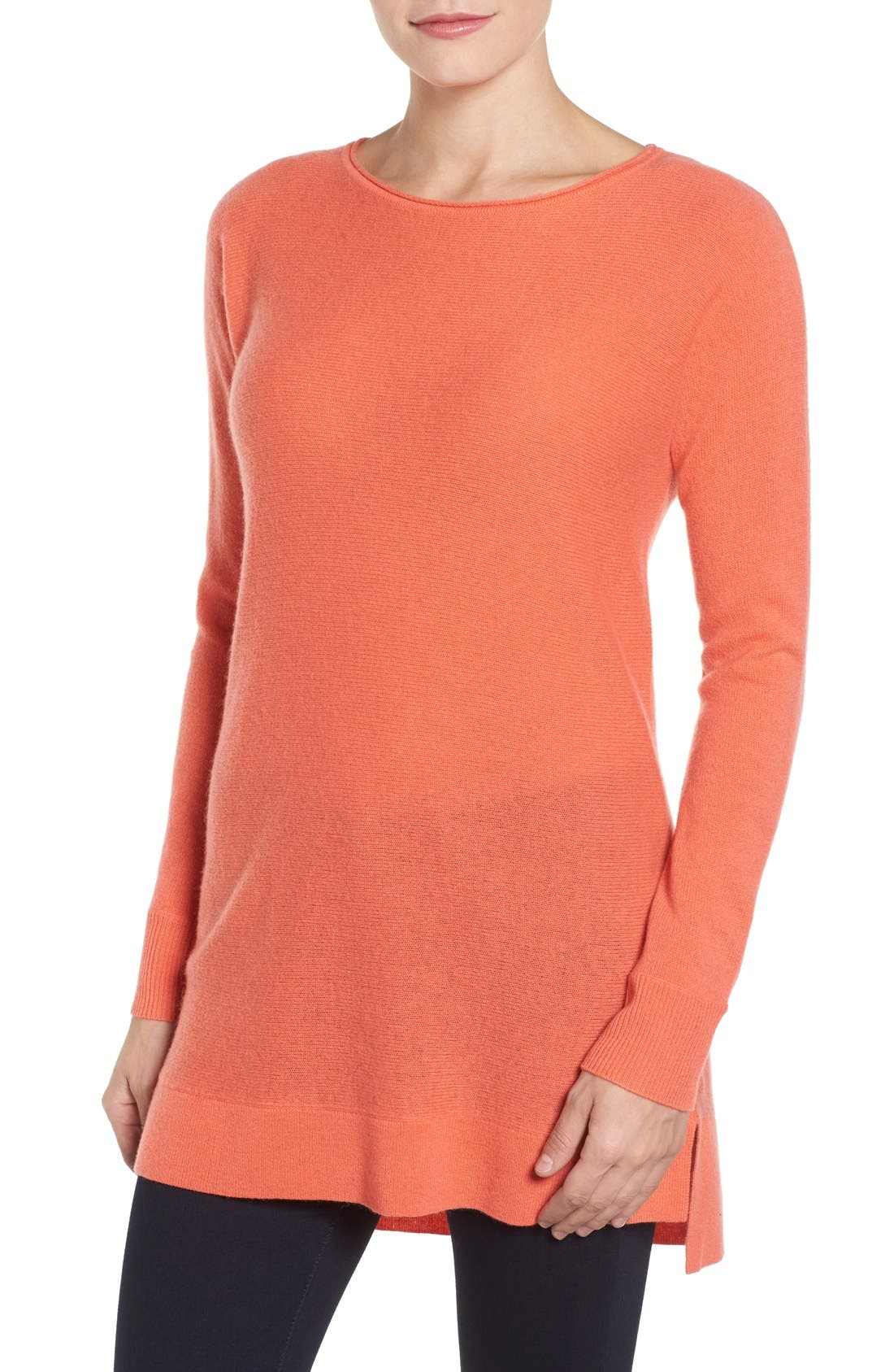 High/Low Wool & Cashmere Tunic Sweater,                             Main thumbnail 18, color,