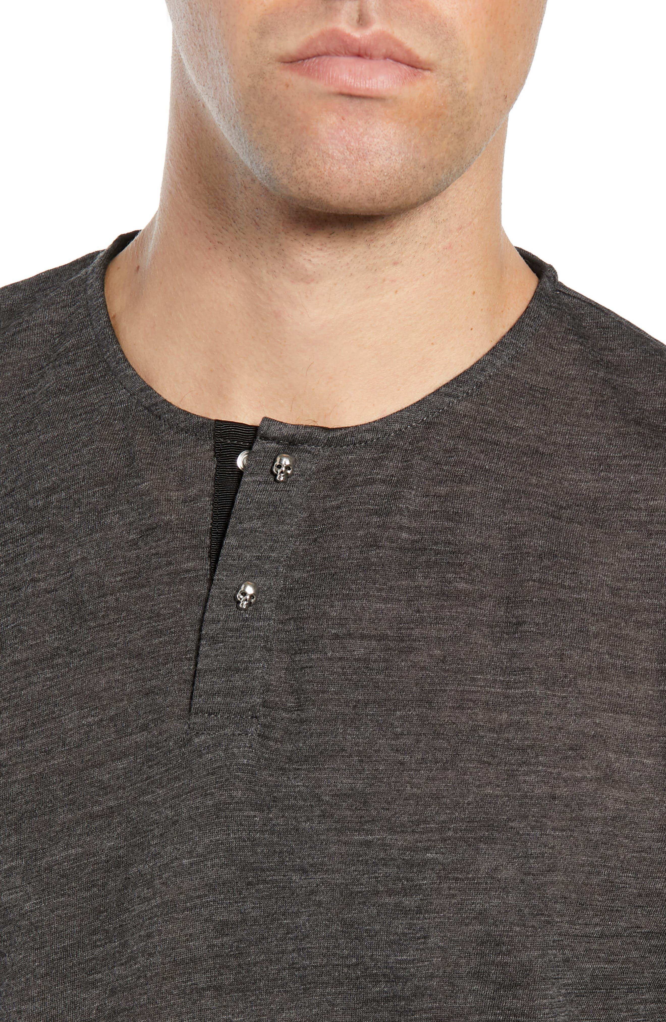 Skull Head Wool Henley T-Shirt,                             Alternate thumbnail 4, color,                             020