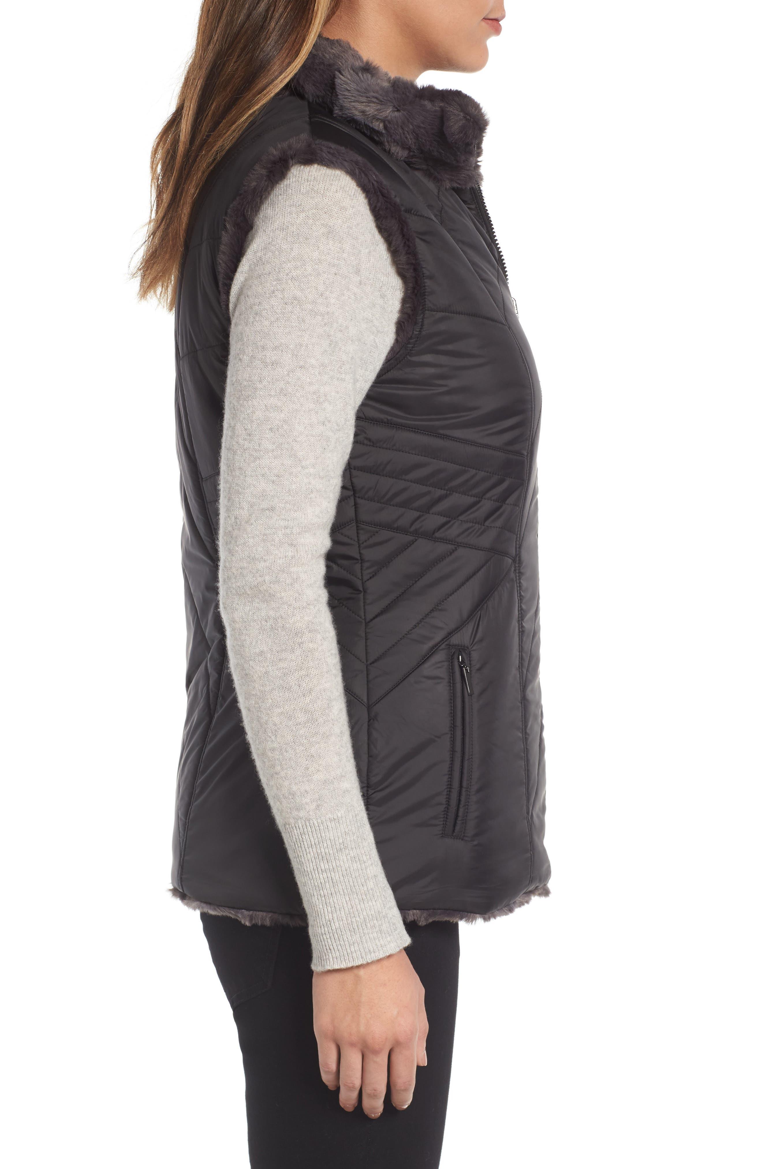 GALLERY,                             Reversible Faux Fur Vest,                             Alternate thumbnail 3, color,                             001