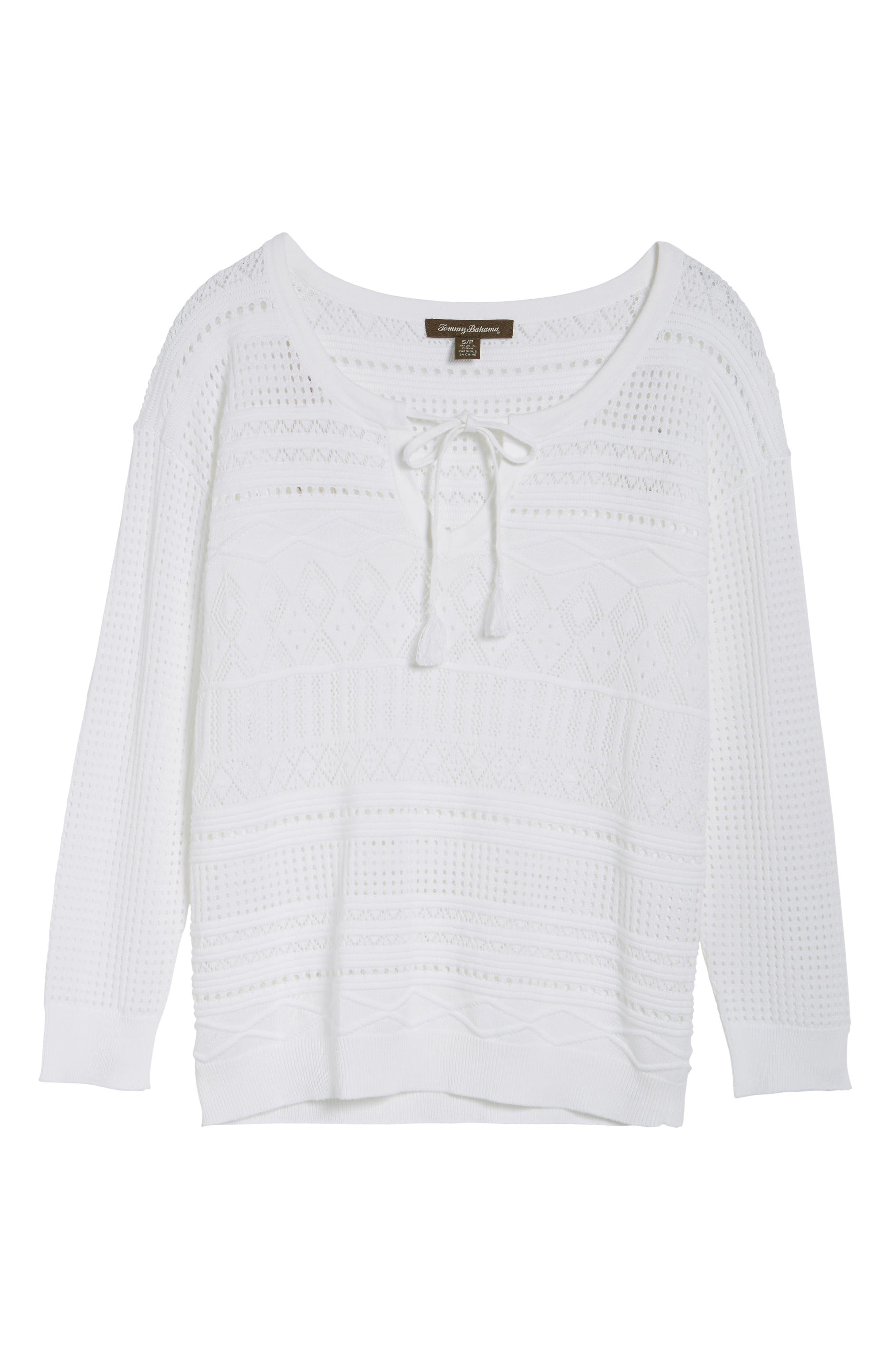Pickford Pointelle Split Neck Sweater,                             Alternate thumbnail 6, color,                             100