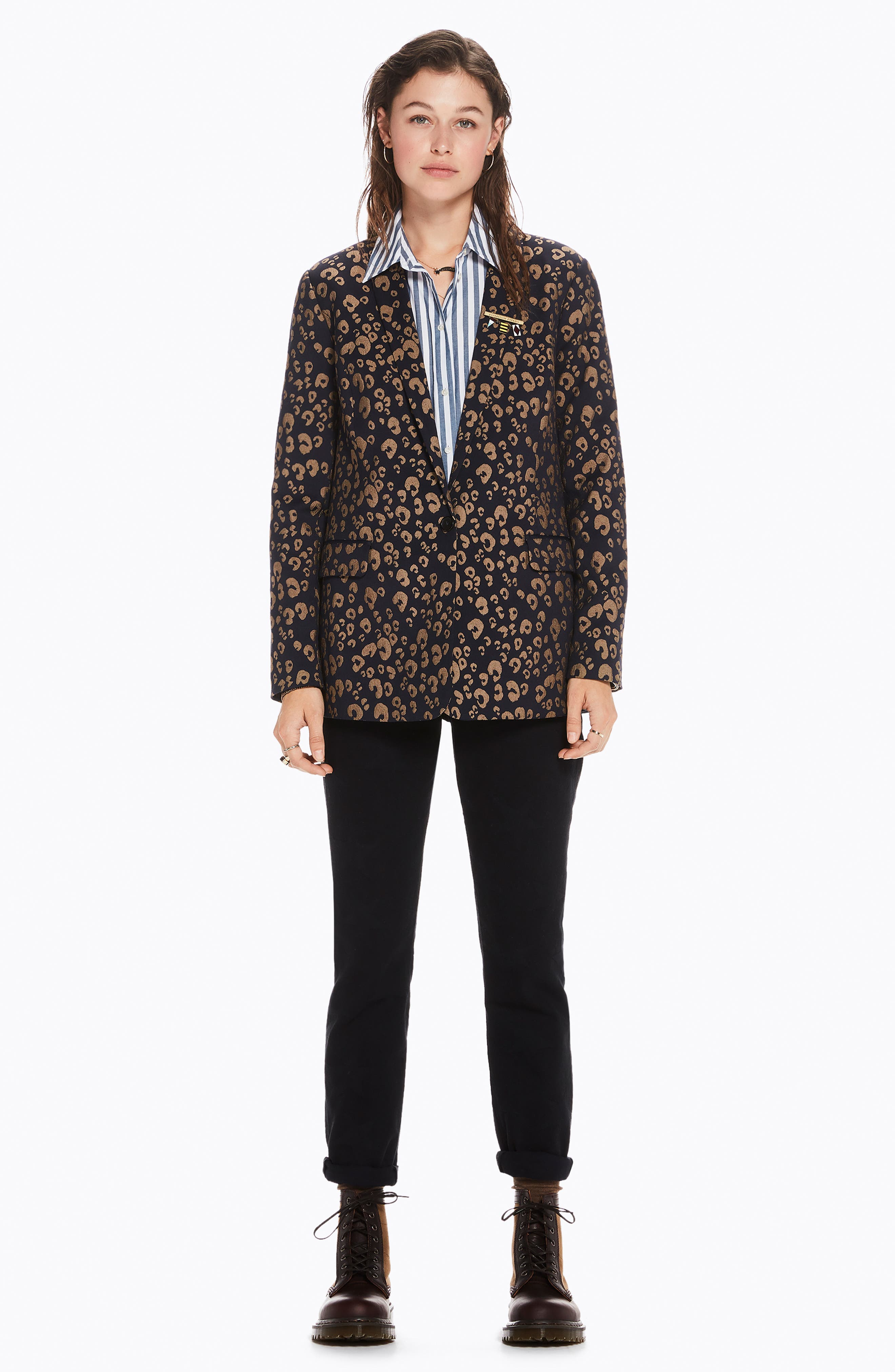 Stretch Jacquard Tailored Blazer,                             Alternate thumbnail 8, color,                             NAVY W/ GOLD LEOPARD PRINT