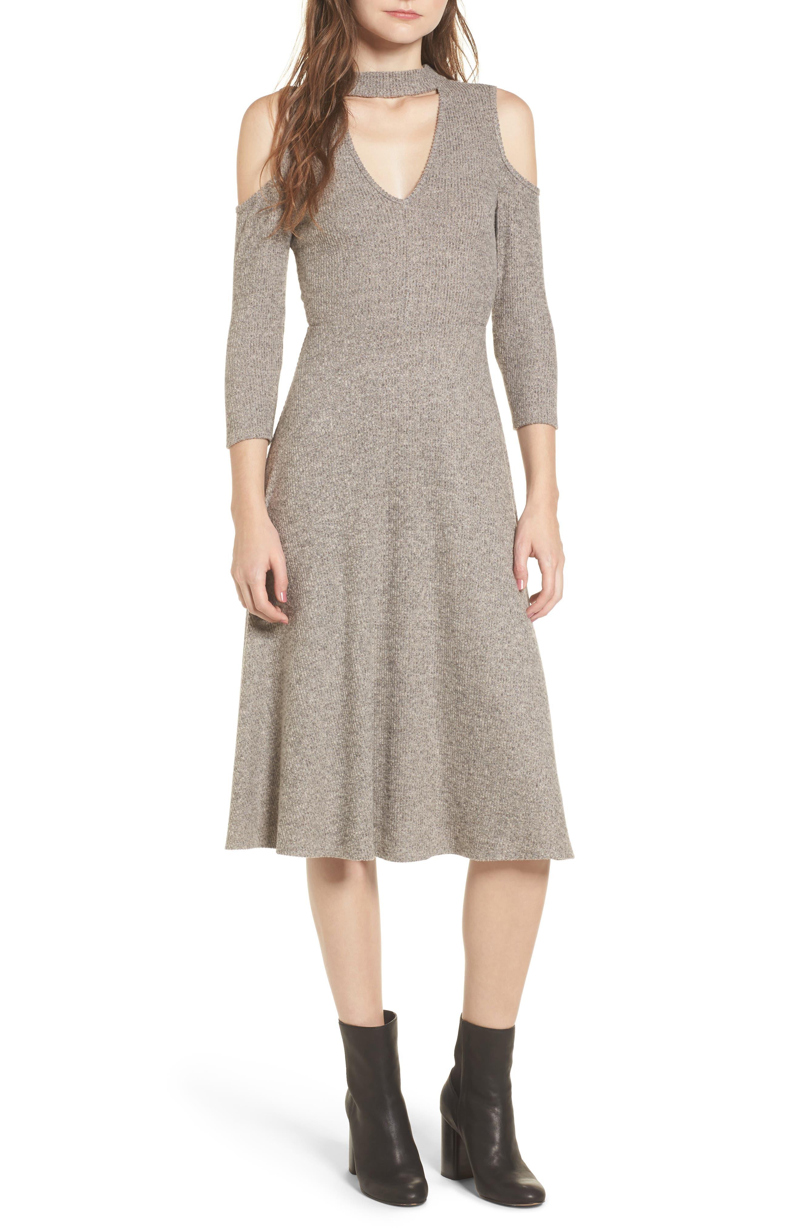 Choker Neck Cold Shoulder Midi Dress,                             Main thumbnail 1, color,