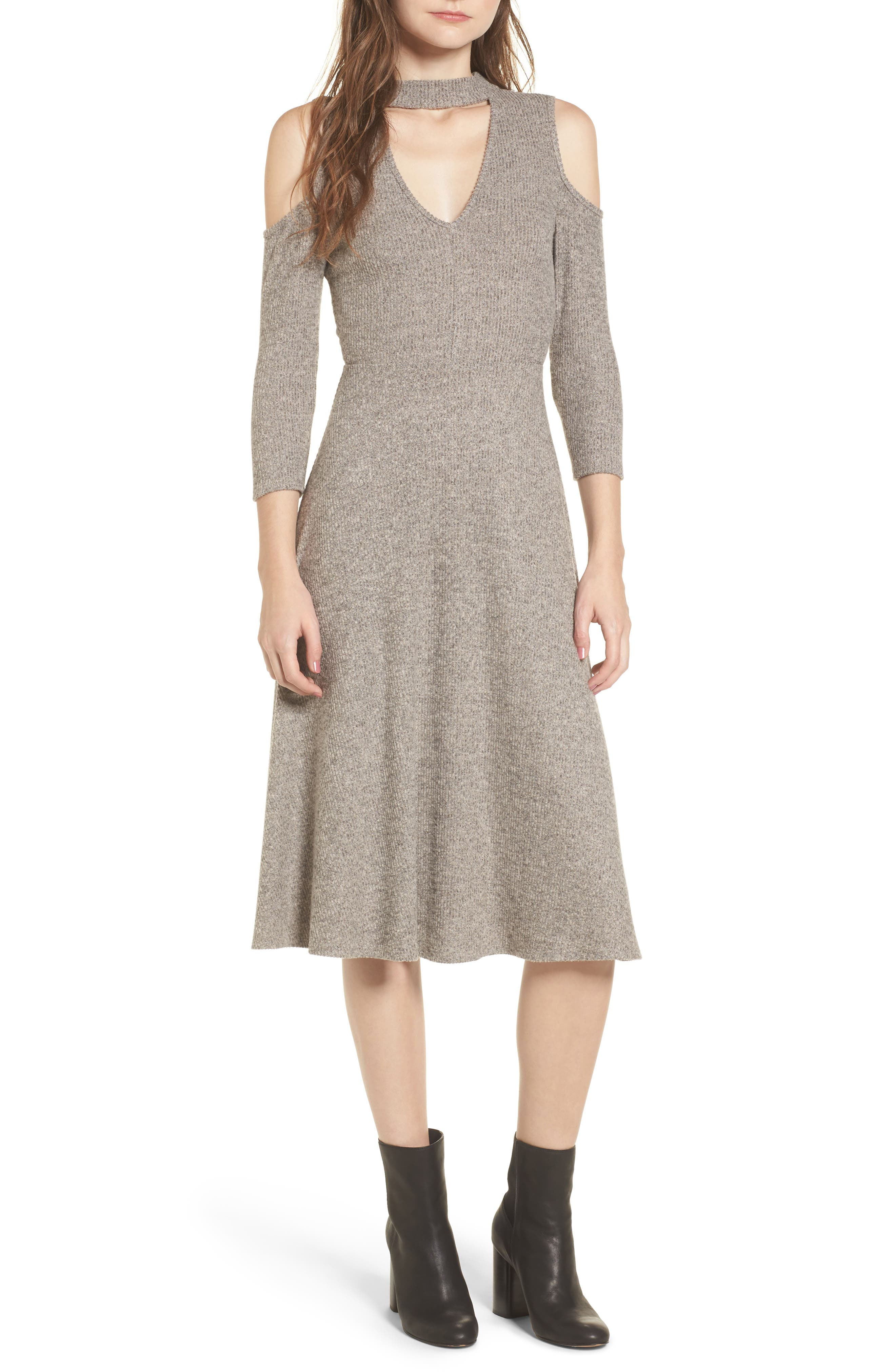 Choker Neck Cold Shoulder Midi Dress,                         Main,                         color,
