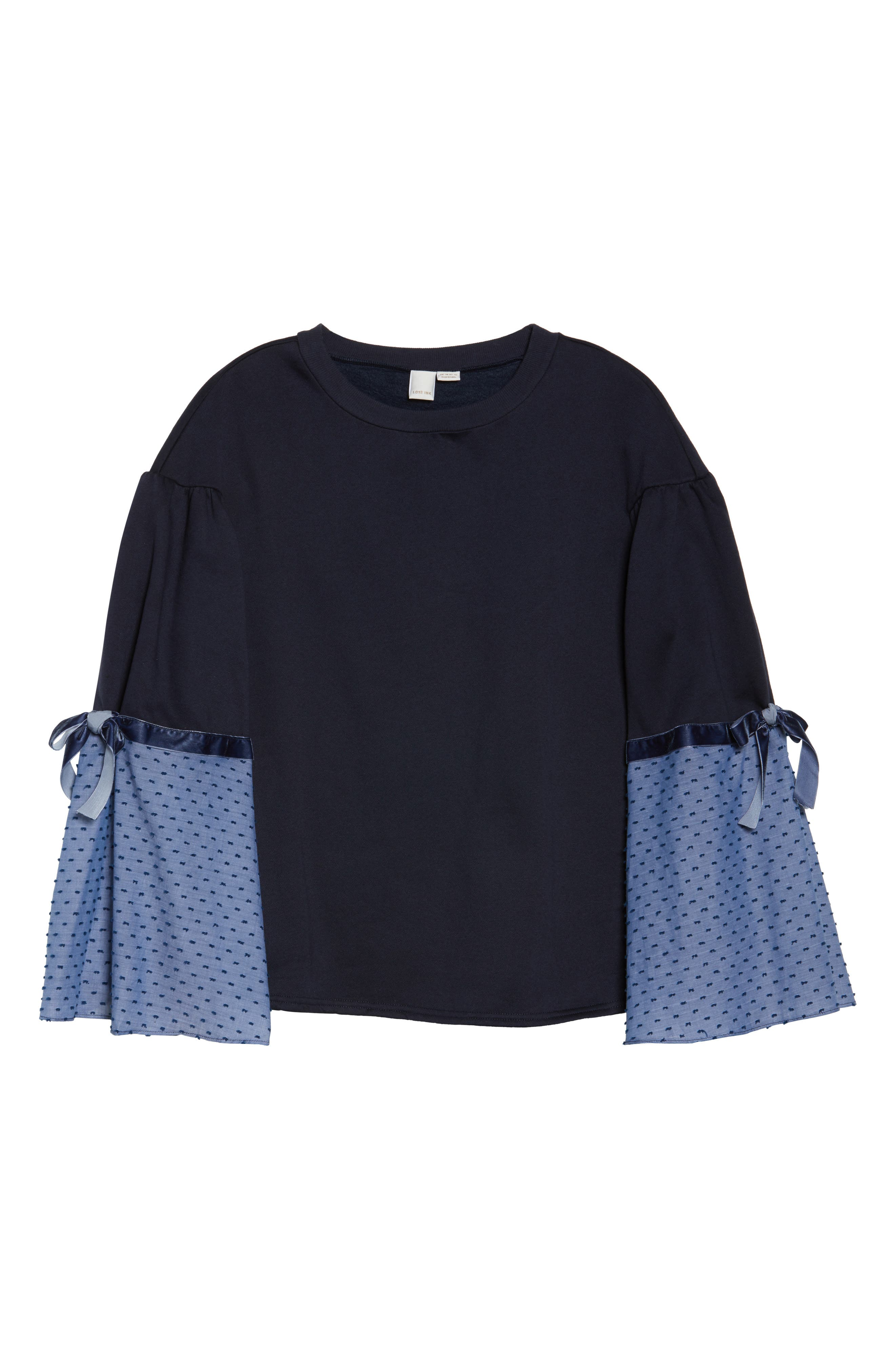 Sweatshirt with Woven Tie Sleeves,                             Alternate thumbnail 6, color,                             410