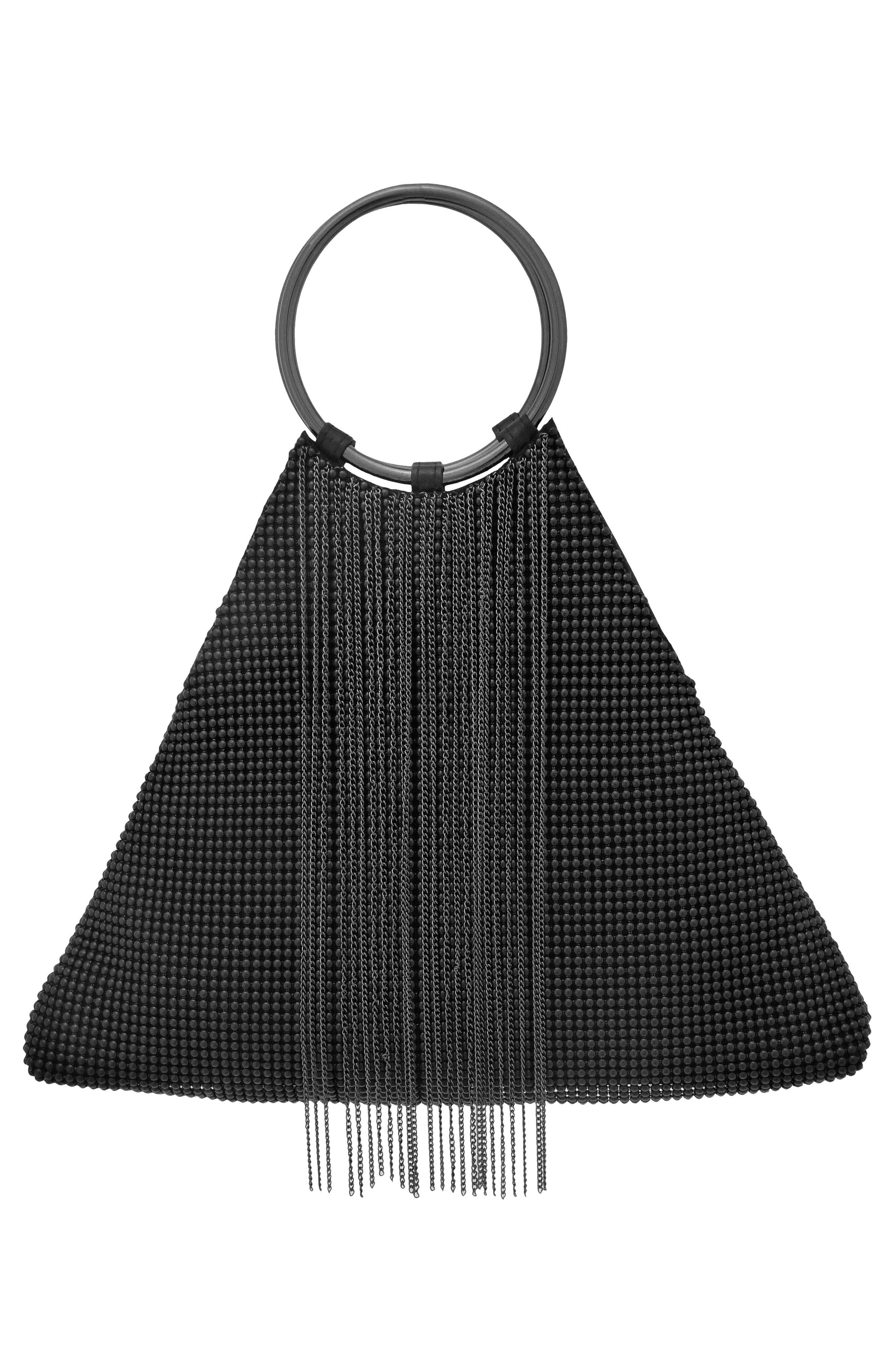 Cascade Fringe Triangle Bracelet Bag - Black