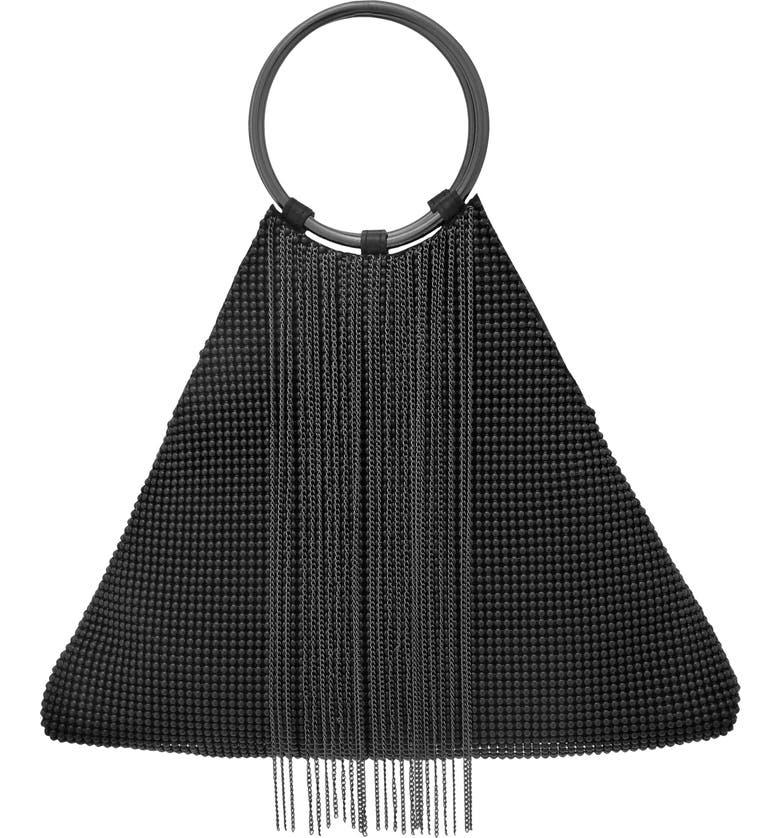 Whiting & Davis CASCADE FRINGE TRIANGLE BRACELET BAG - BLACK