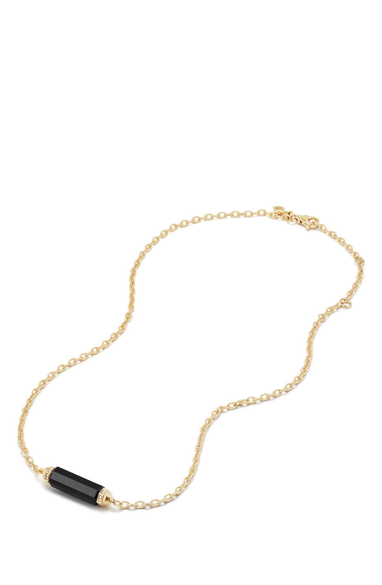 Barrels Single Station Necklace with Diamonds in 18K Gold,                             Alternate thumbnail 2, color,                             BLACK ONYX