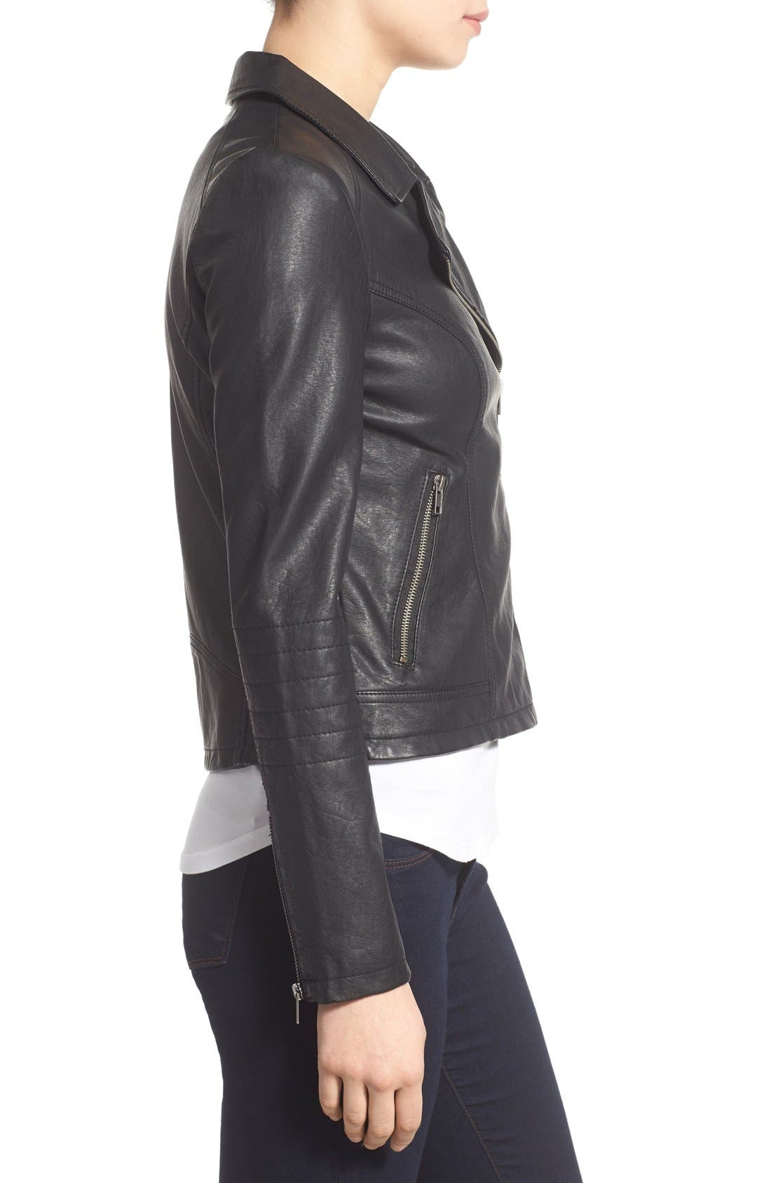 'Sid' Faux Leather Moto Jacket,                             Alternate thumbnail 11, color,