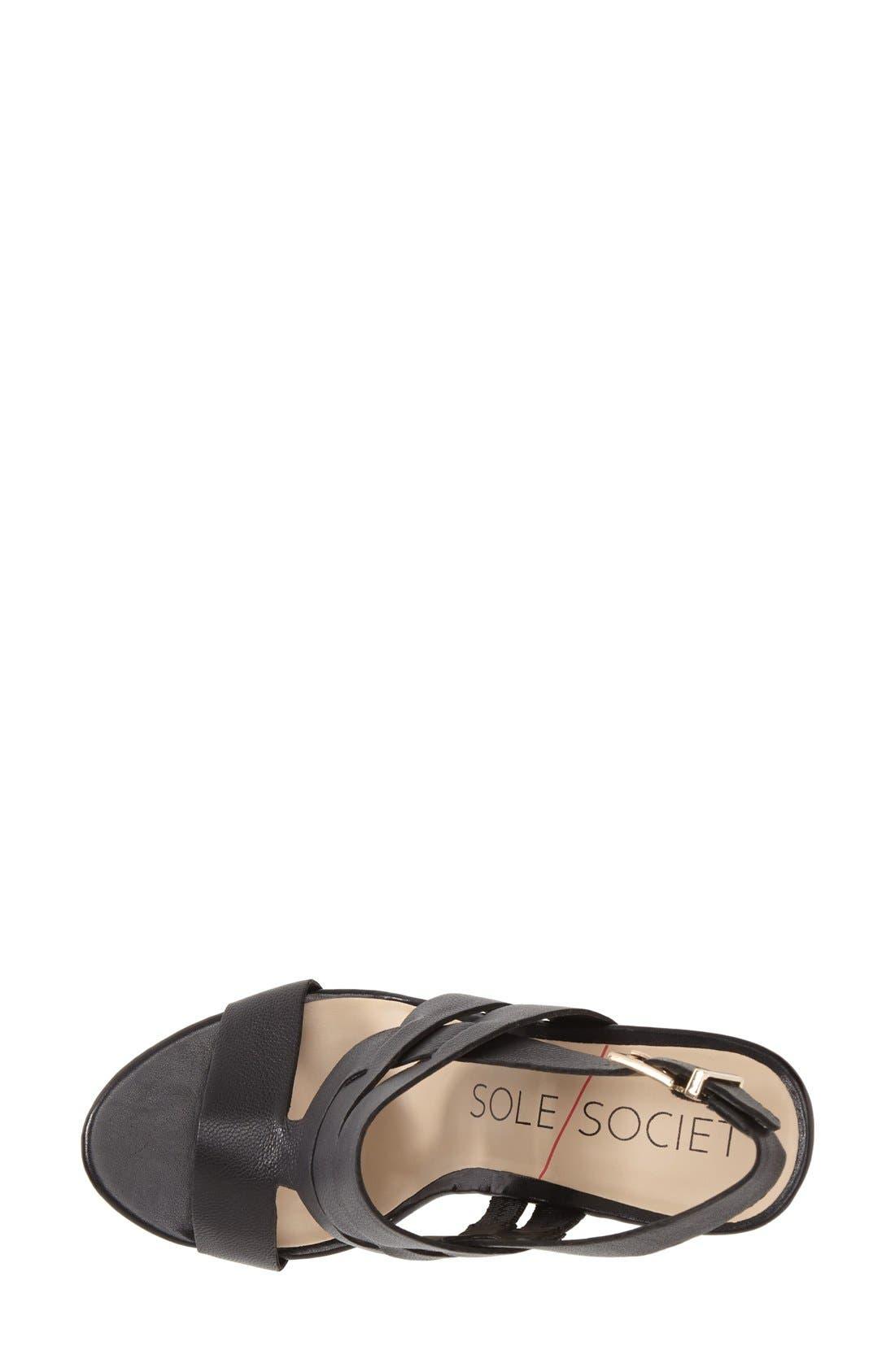 SOLE SOCIETY,                             'Jenny' Slingback Wedge Sandal,                             Alternate thumbnail 4, color,                             001
