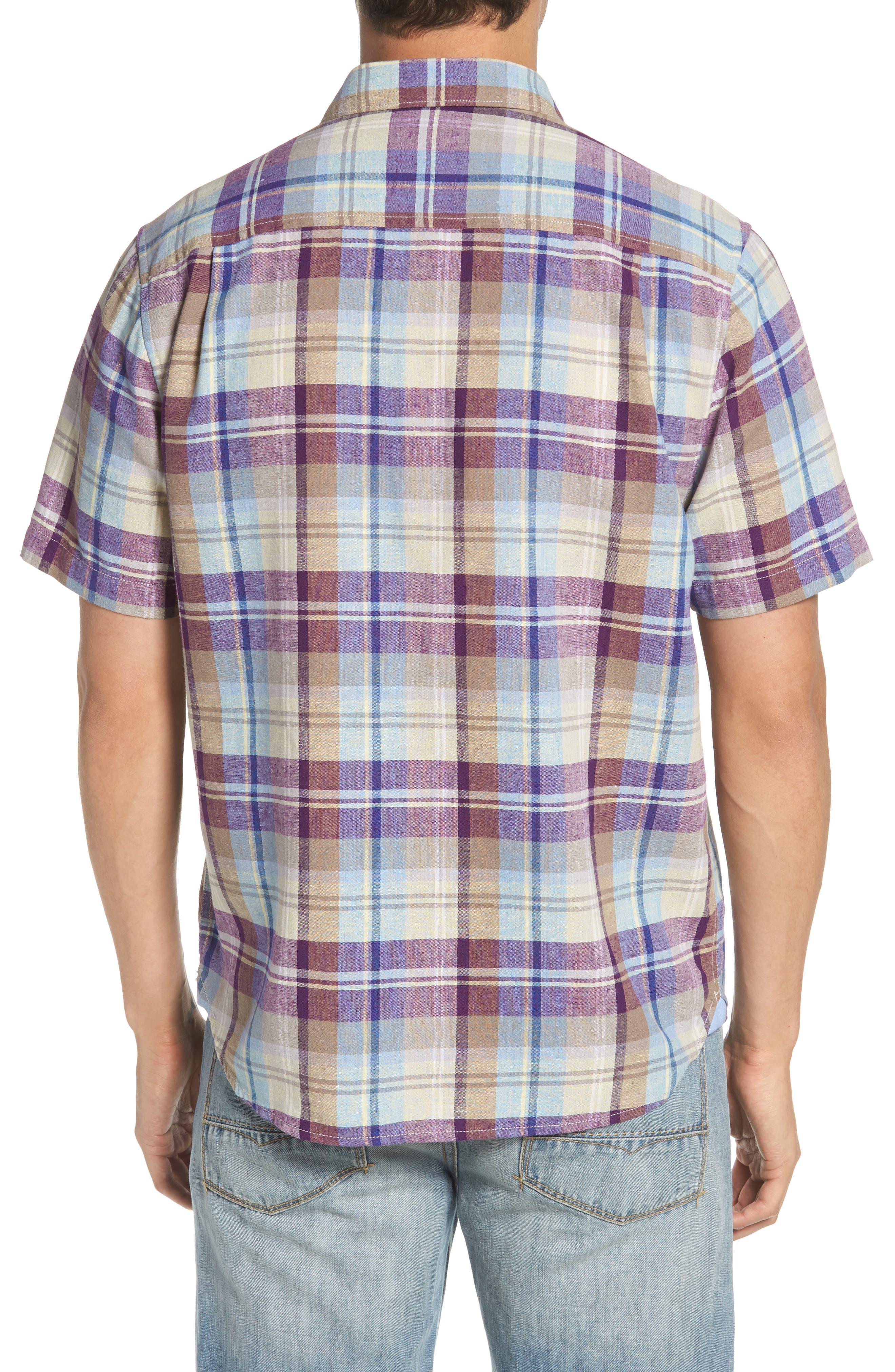 La Paz Plaid Linen Blend Sport Shirt,                             Alternate thumbnail 2, color,                             500