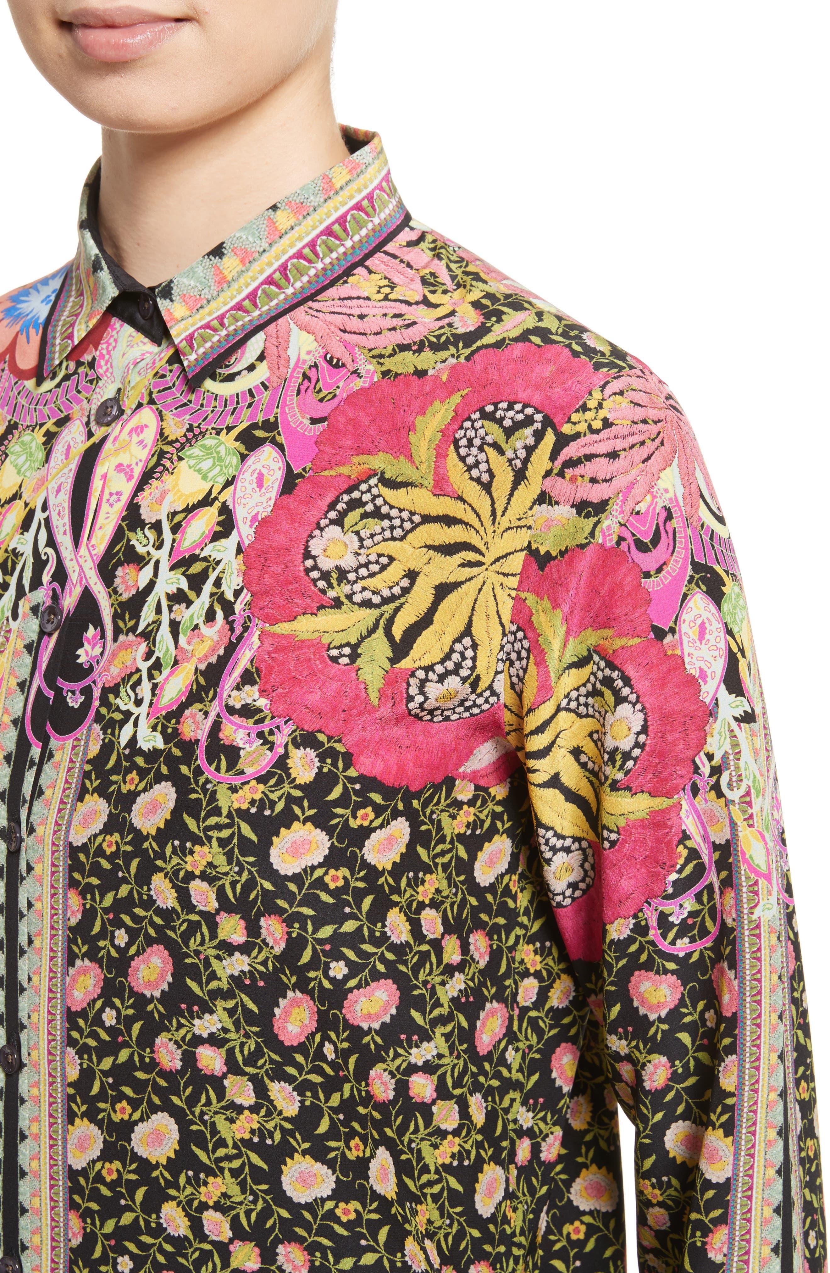 Floral Paisley Print Silk Shirt,                             Alternate thumbnail 4, color,                             001