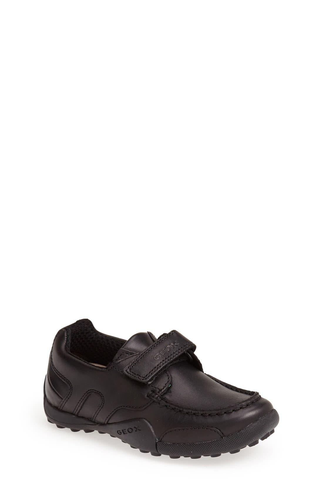 'Snake Moc 2' Leather Loafer,                             Main thumbnail 1, color,                             BLACK