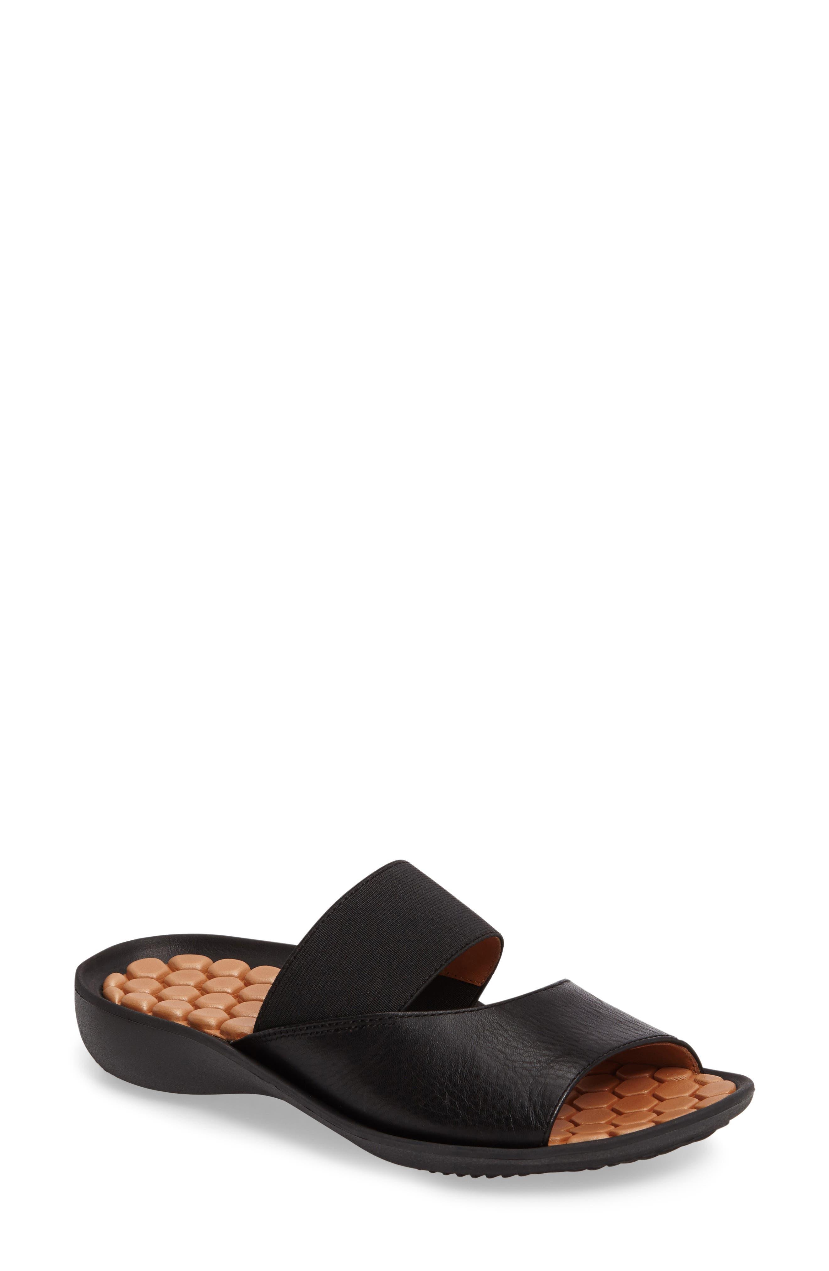 Northville Slide Sandal,                         Main,                         color, BLACK LEATHER