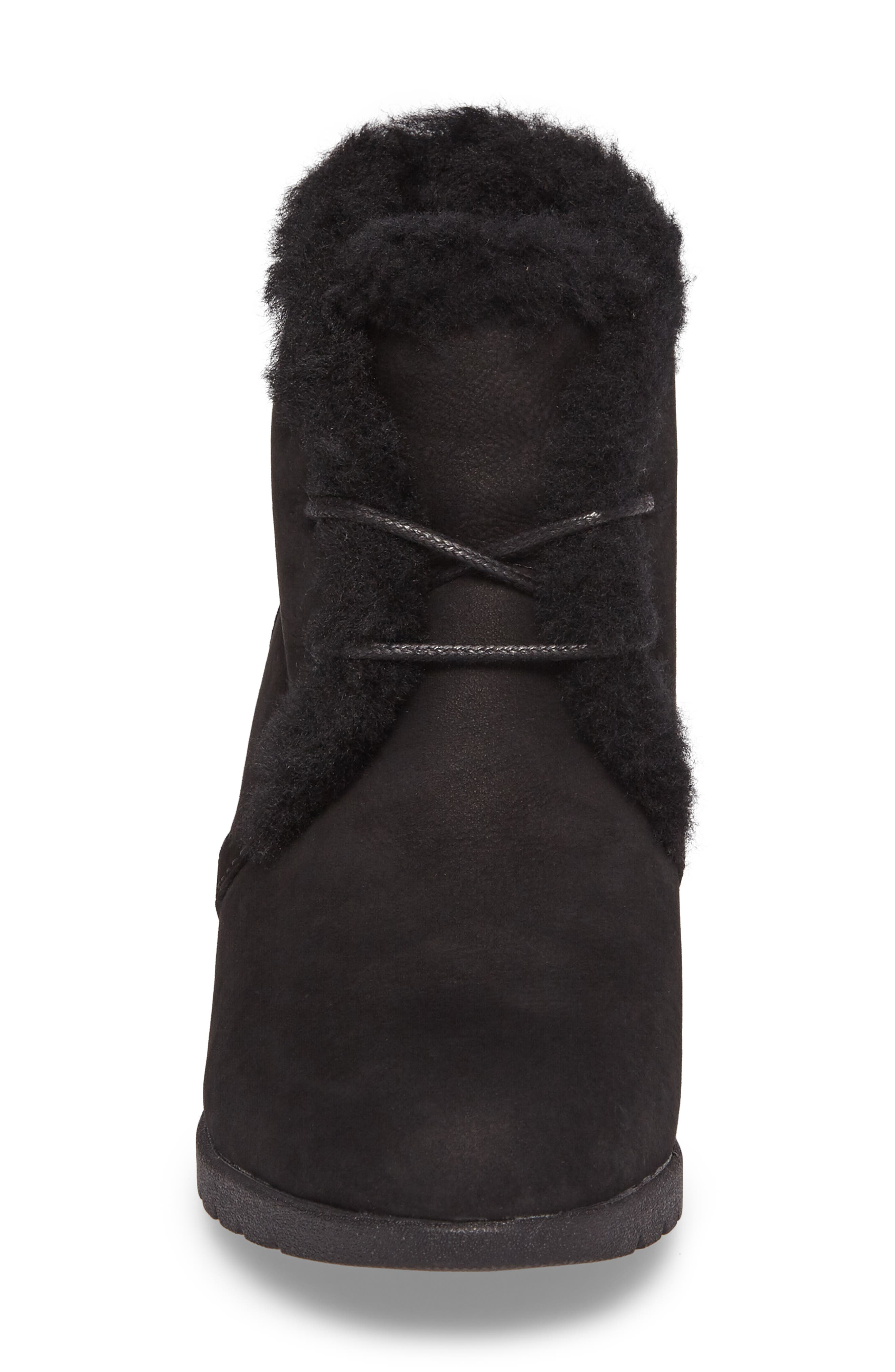 Jeovana Genuine Shearling Lined Boot,                             Alternate thumbnail 4, color,                             BLACK SUEDE
