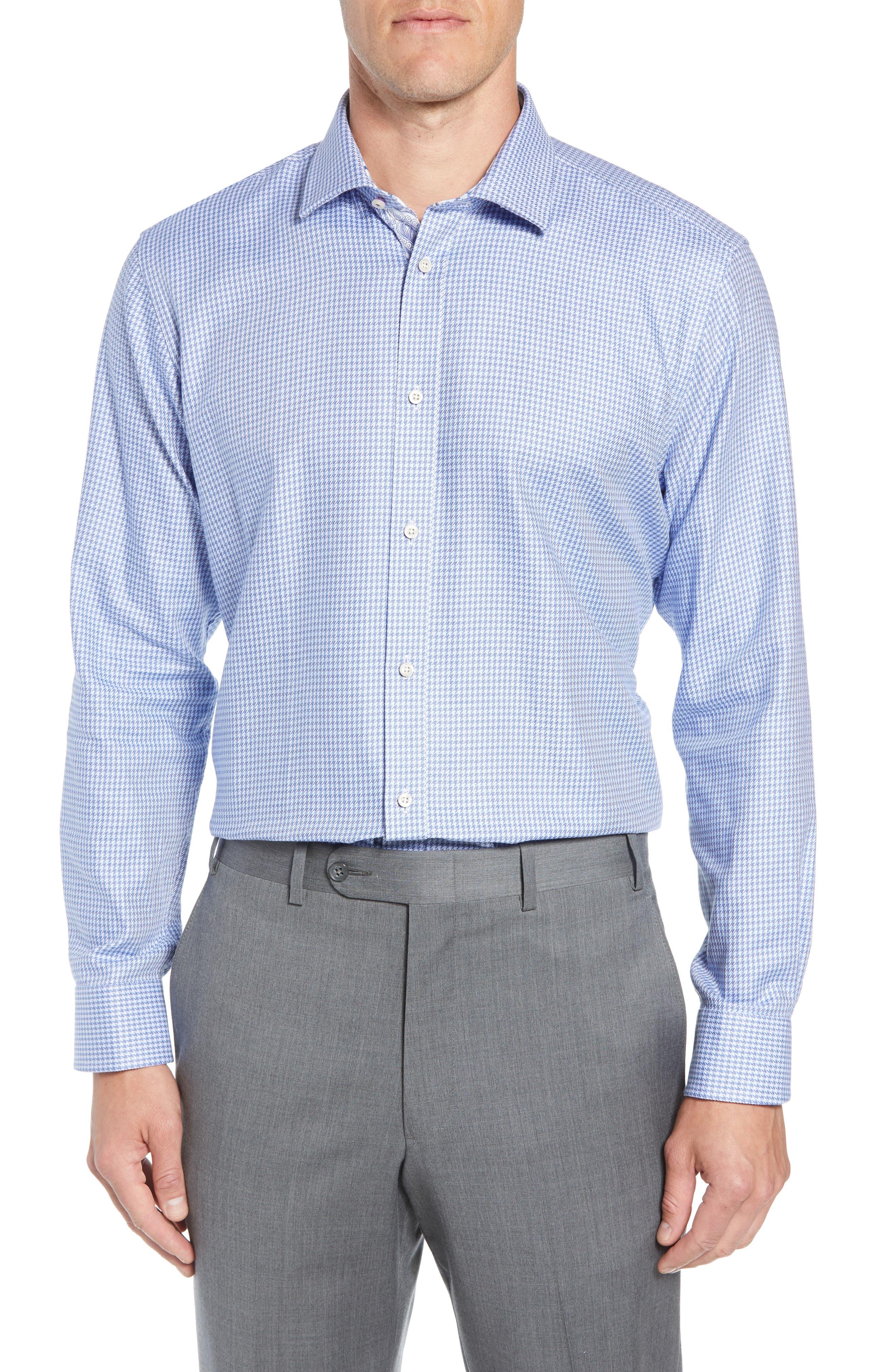 Franks Trim Fit Houndstooth Dress Shirt,                         Main,                         color, BLUE