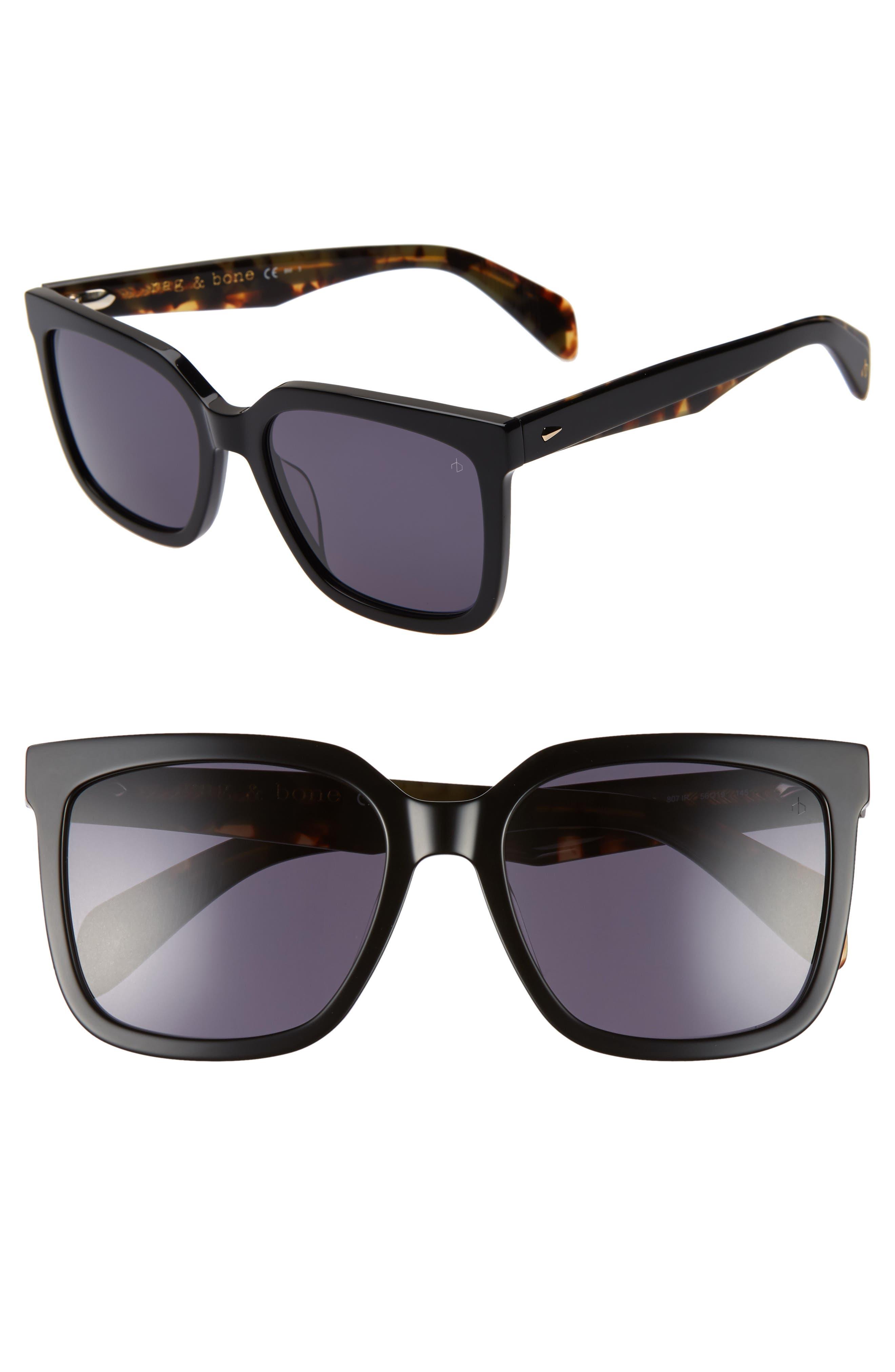 56mm Square Sunglasses, Main, color, BLACK