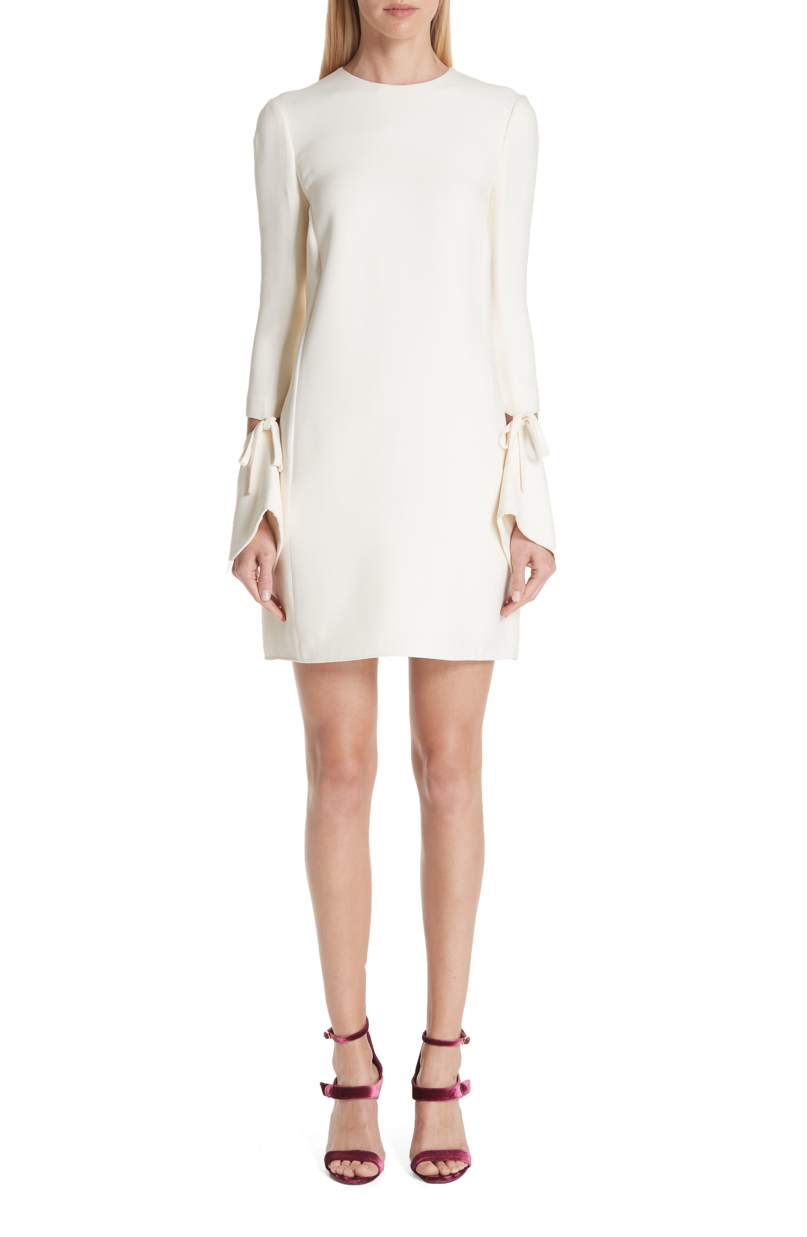 Oscar De La Renta Split Sleeve Wool & Silk Crepe Shift Dress, White