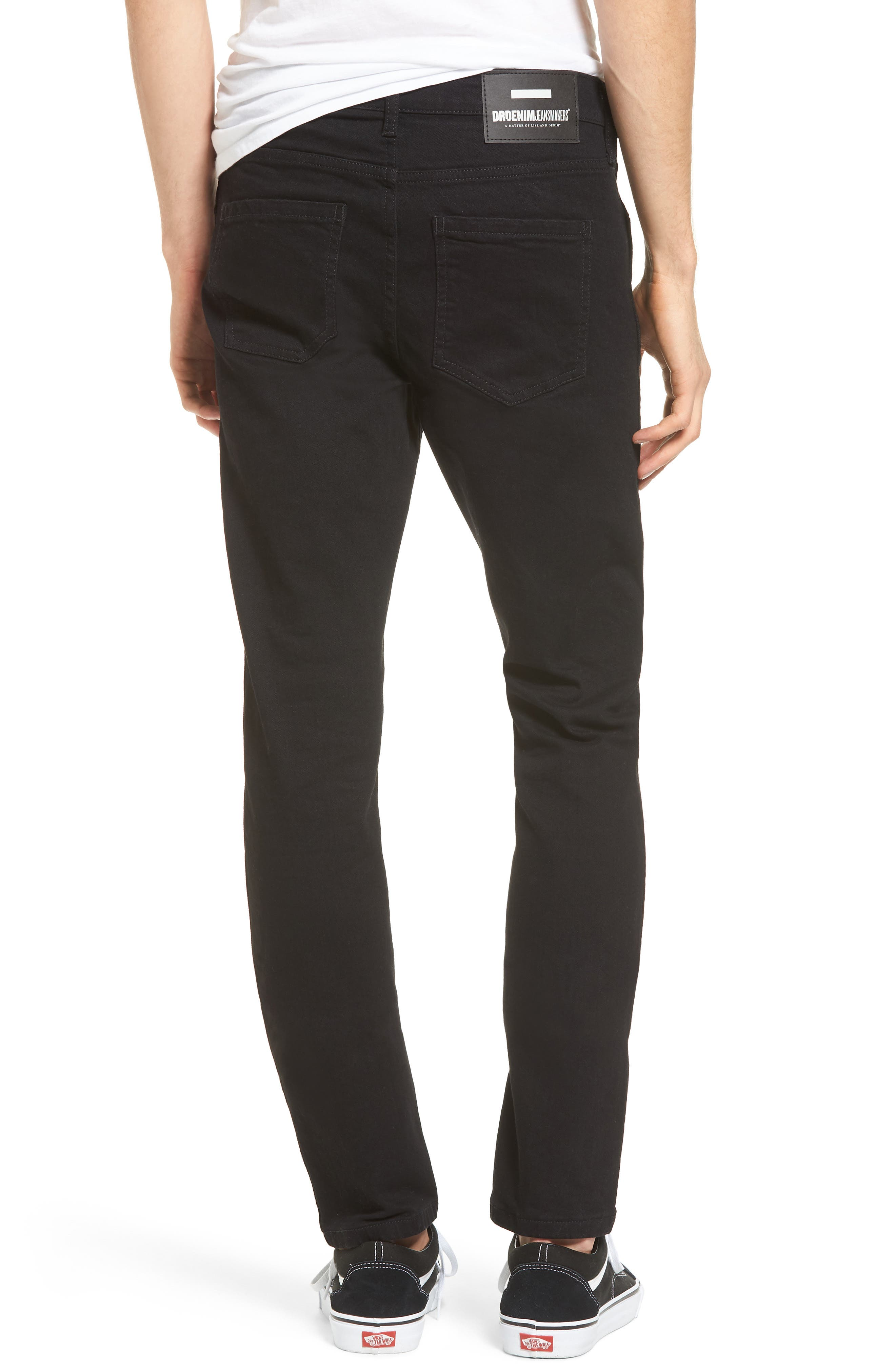 Snap Skinny Fit Jeans,                             Alternate thumbnail 2, color,                             ORGANIC BLACK