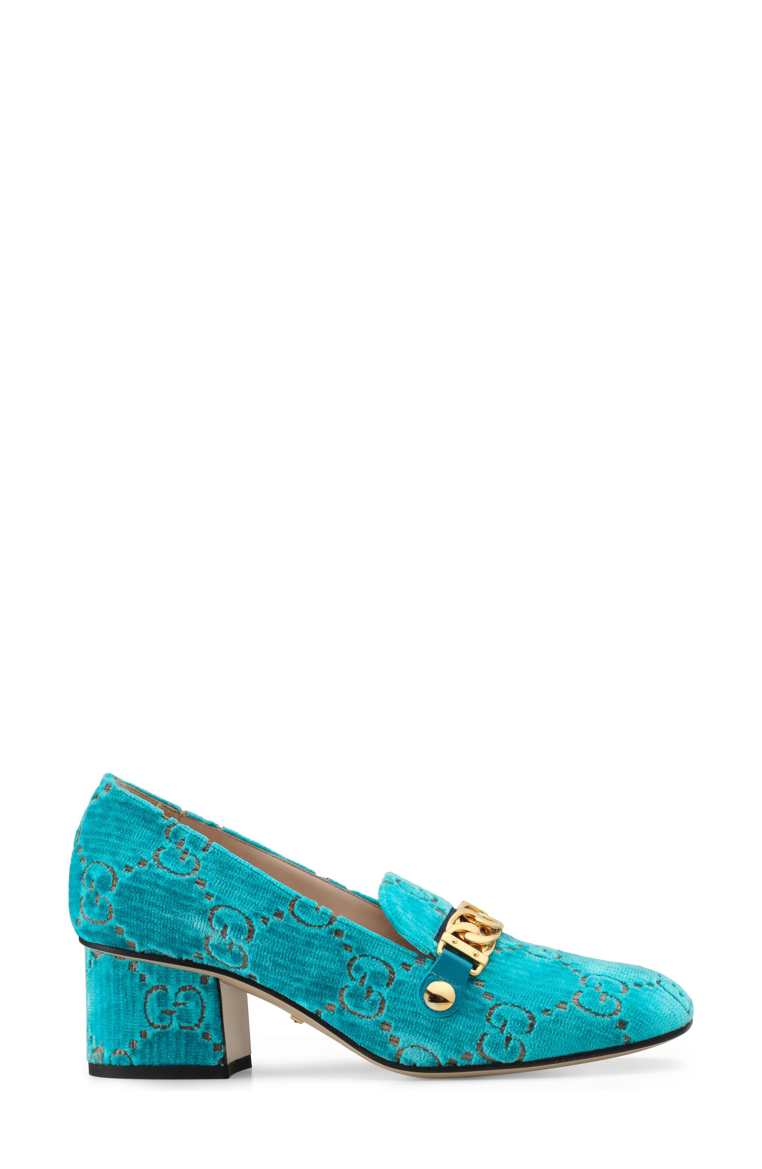 GUCCI,                             Sylvie Loafer Pump,                             Alternate thumbnail 3, color,                             TURQUOISE