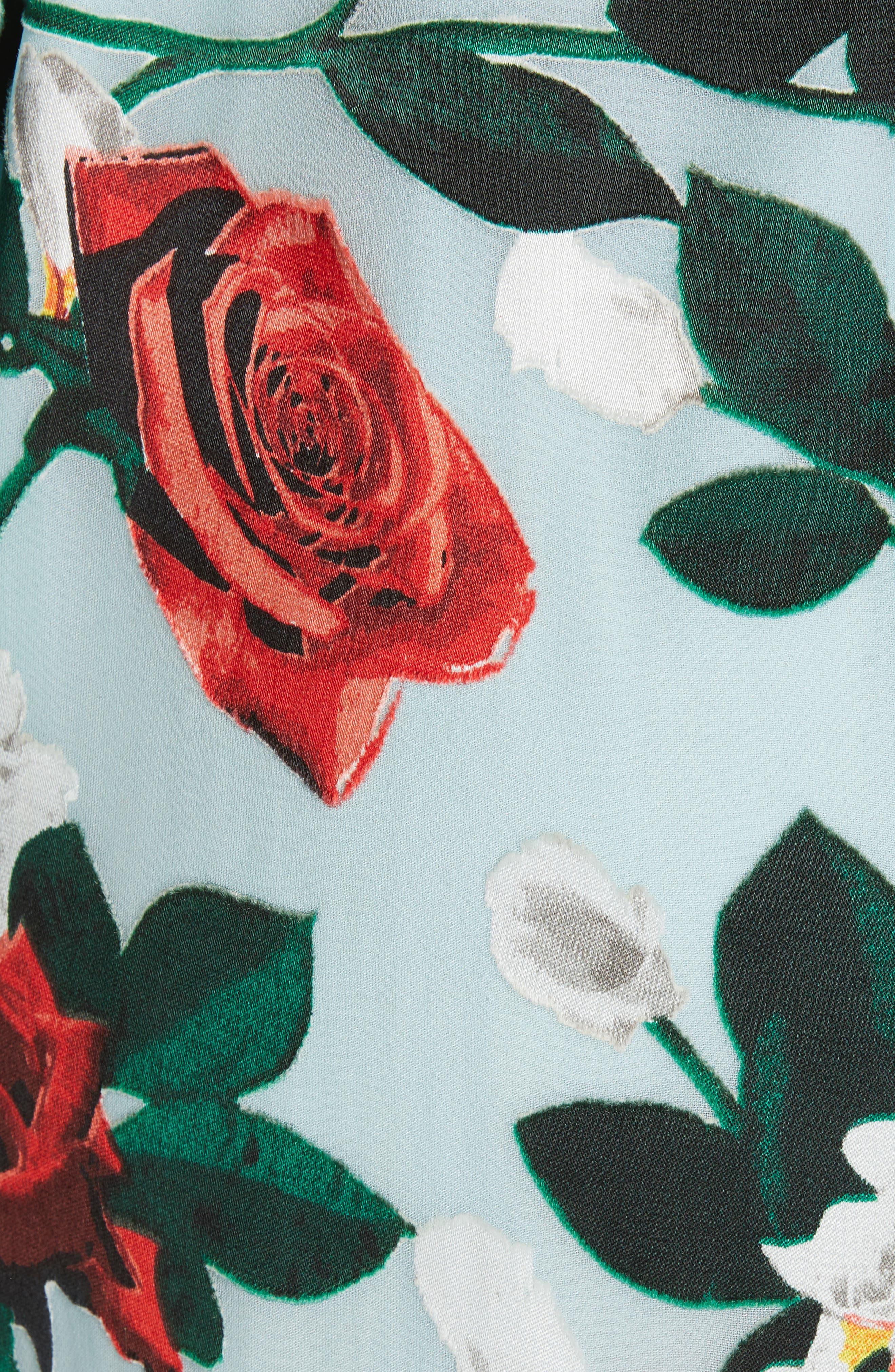 Ellamae Ruffle Sleeve Dress,                             Alternate thumbnail 5, color,                             ROSEBUD FLORAL POWDER BLUE
