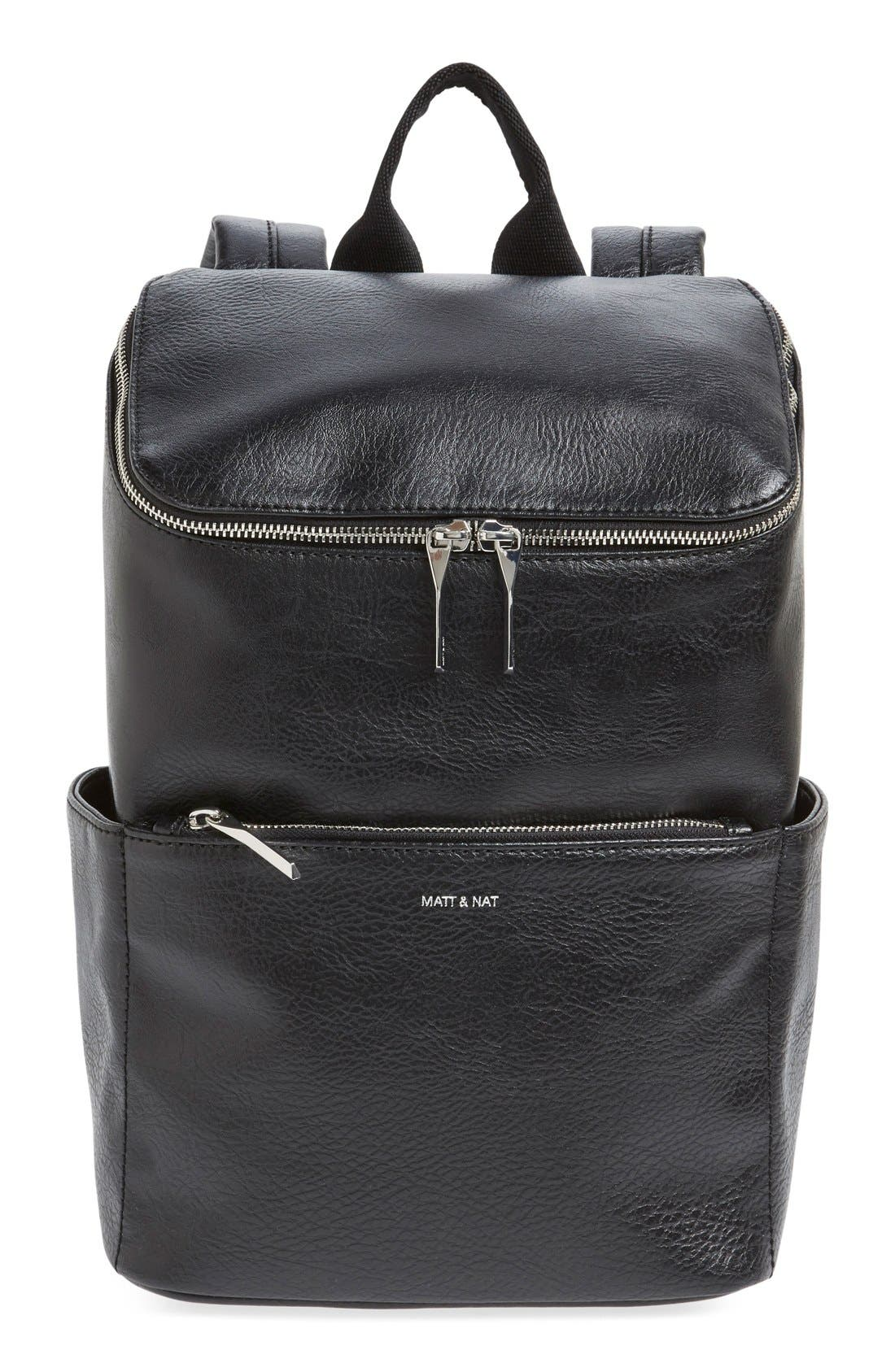 'Brave' Faux Leather Backpack,                             Main thumbnail 6, color,