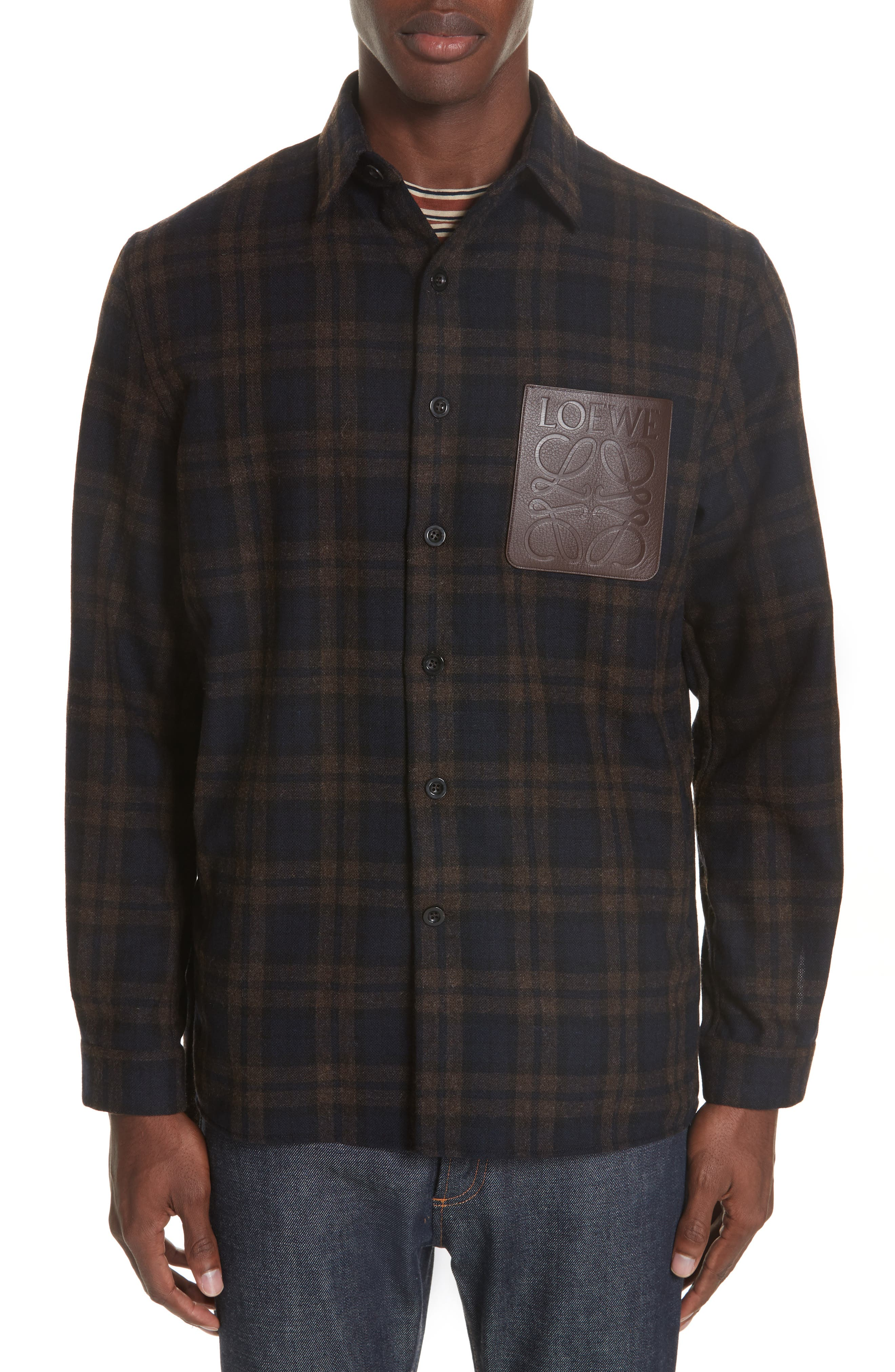 Check Overshirt,                         Main,                         color, NAVY
