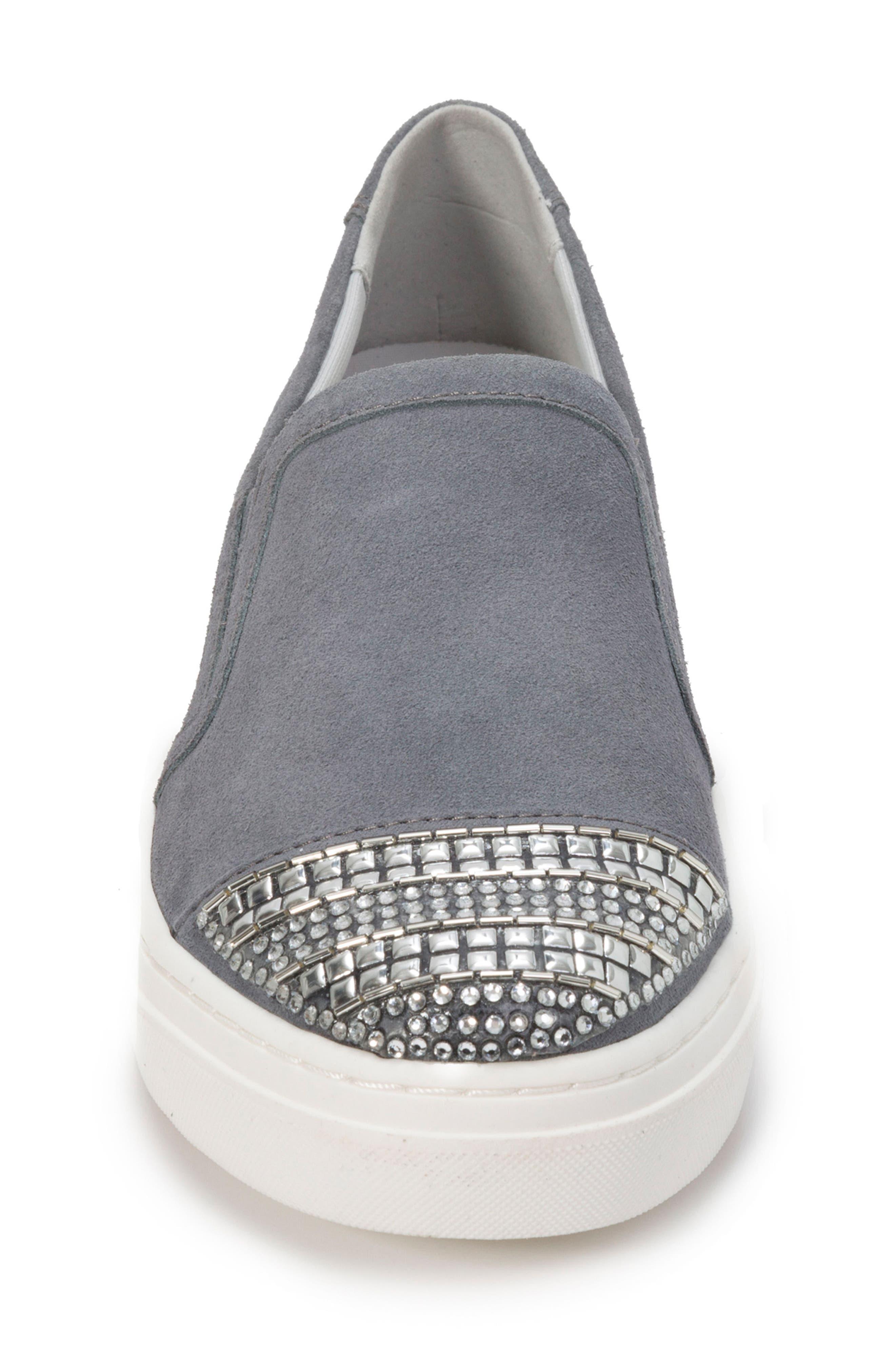 Finley Slip-On Sneaker,                             Alternate thumbnail 4, color,                             DENIM BLUE SUEDE