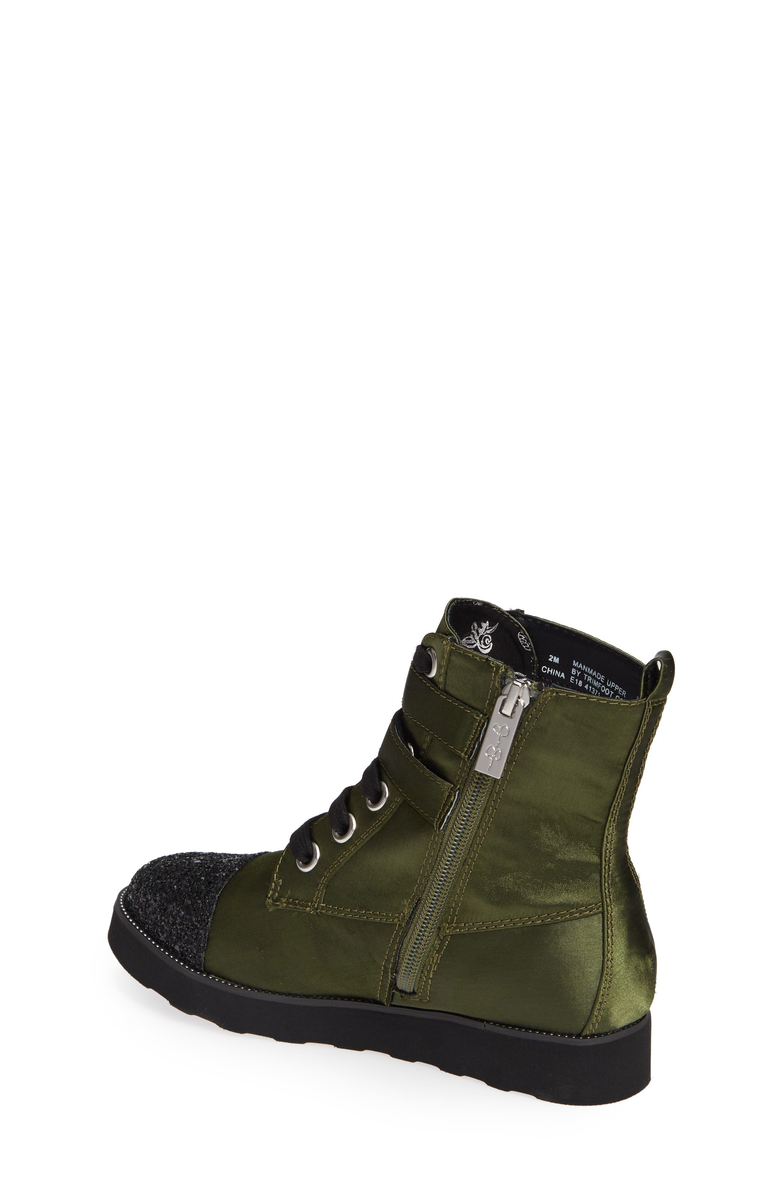 Glitter Combat Boot,                             Alternate thumbnail 2, color,                             OLIVE SATIN