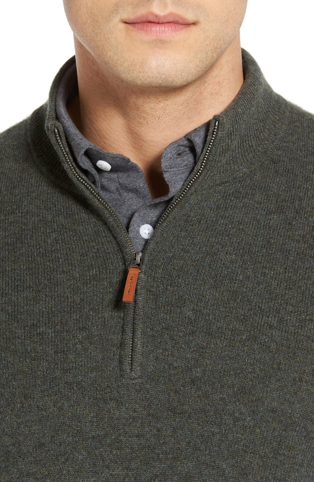 Cashmere Quarter Zip Sweater,                             Alternate thumbnail 16, color,