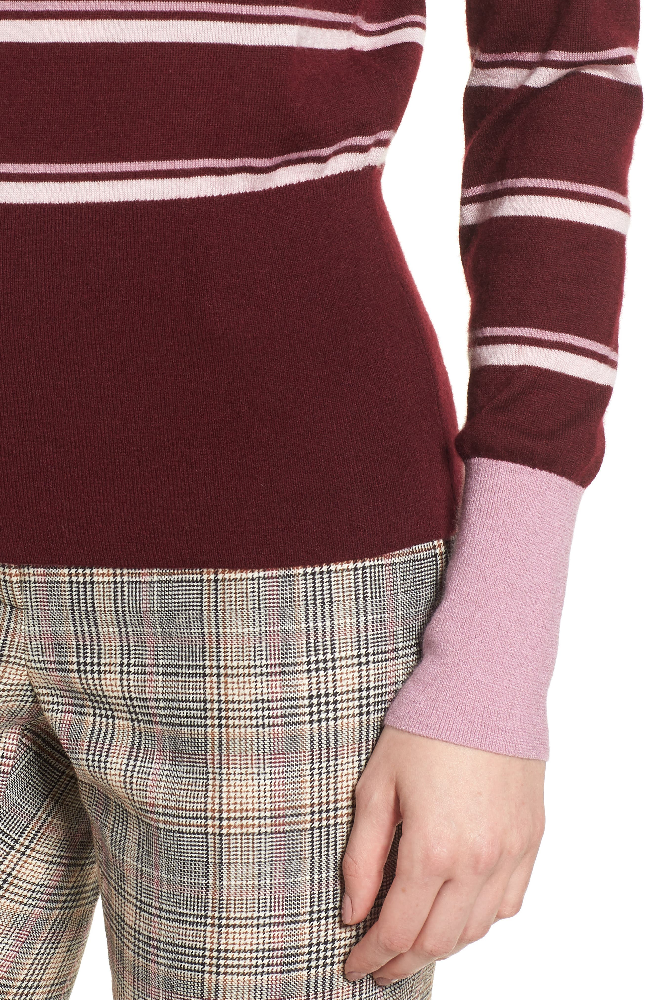 Stripe Cashmere Sweater,                             Alternate thumbnail 4, color,                             BURGUNDY STEP STRIPE