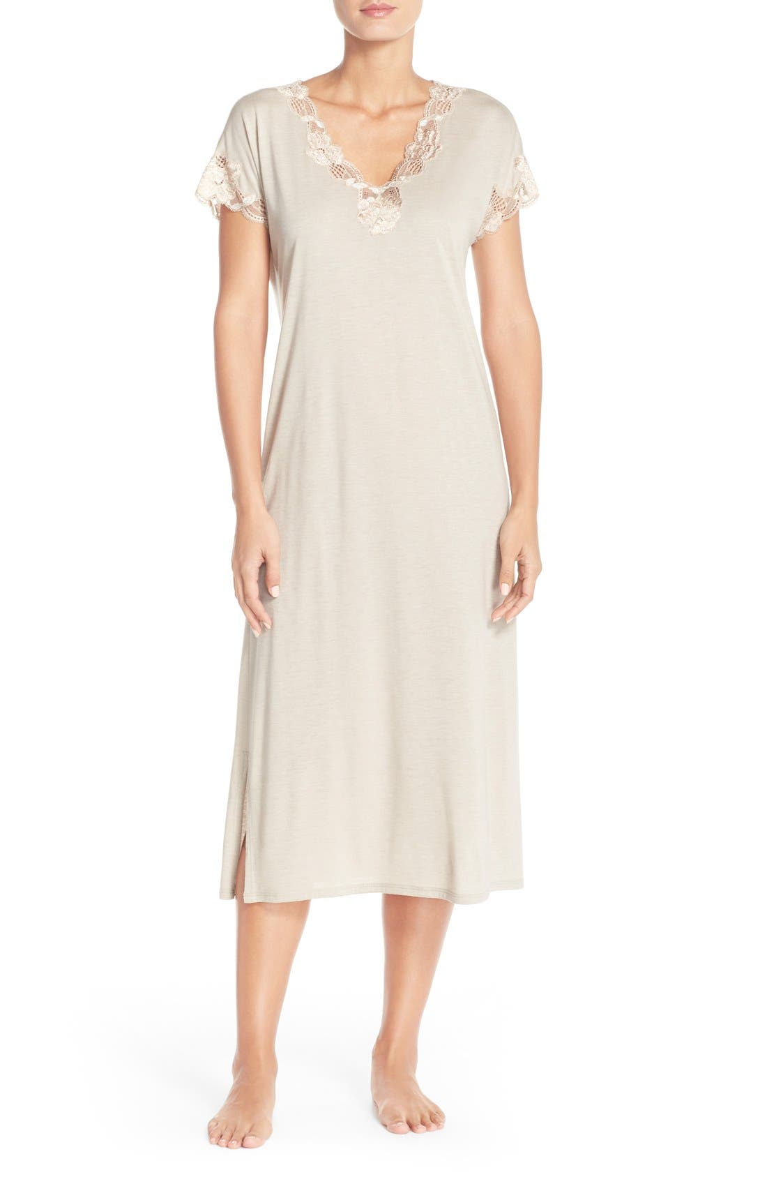 'Zen' Short Sleeve Nightgown,                             Main thumbnail 3, color,