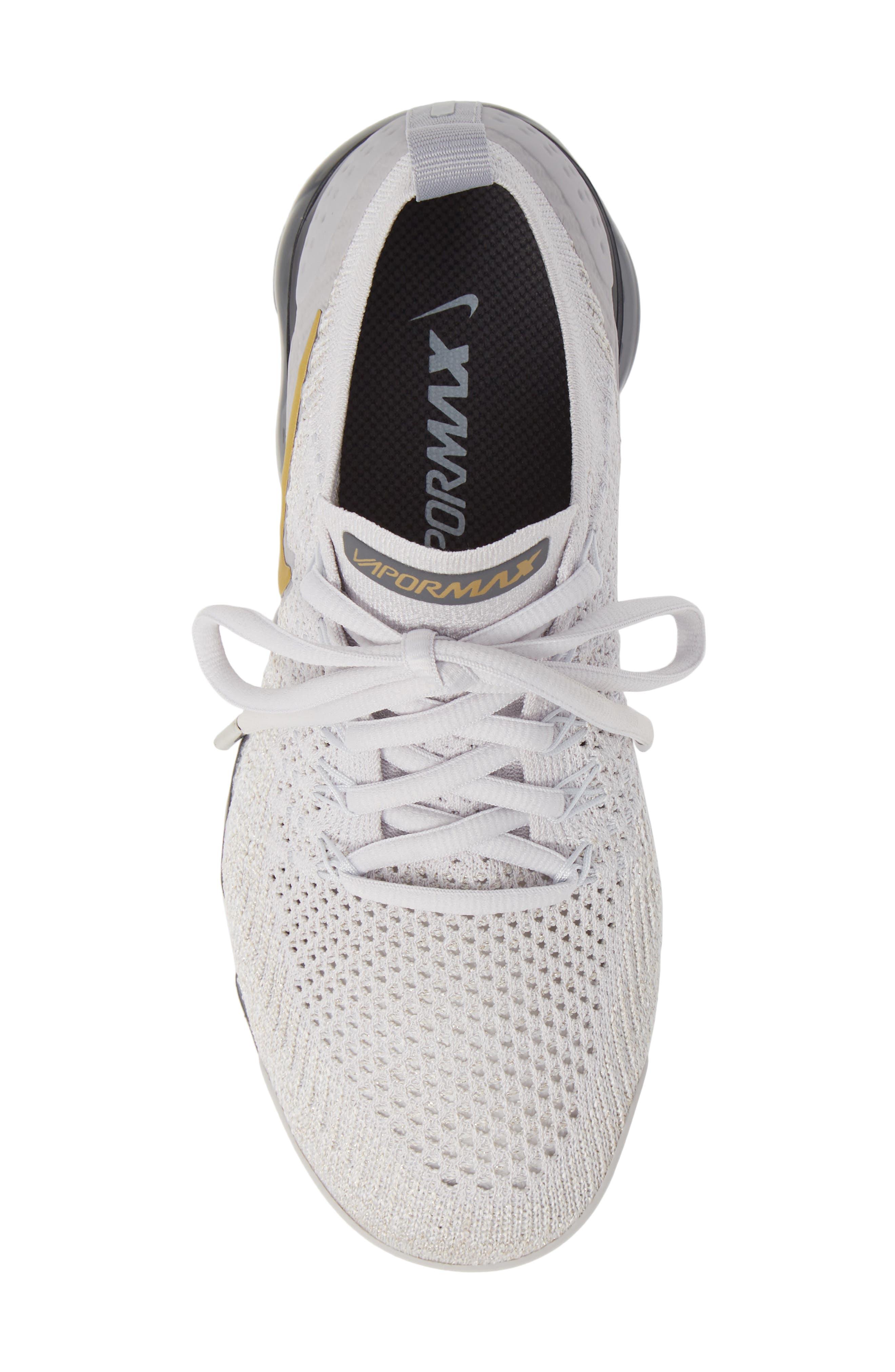 Air VaporMax Flyknit 2 Running Shoe,                             Alternate thumbnail 5, color,                             GREY/ METALLIC GOLD- PLATINUM