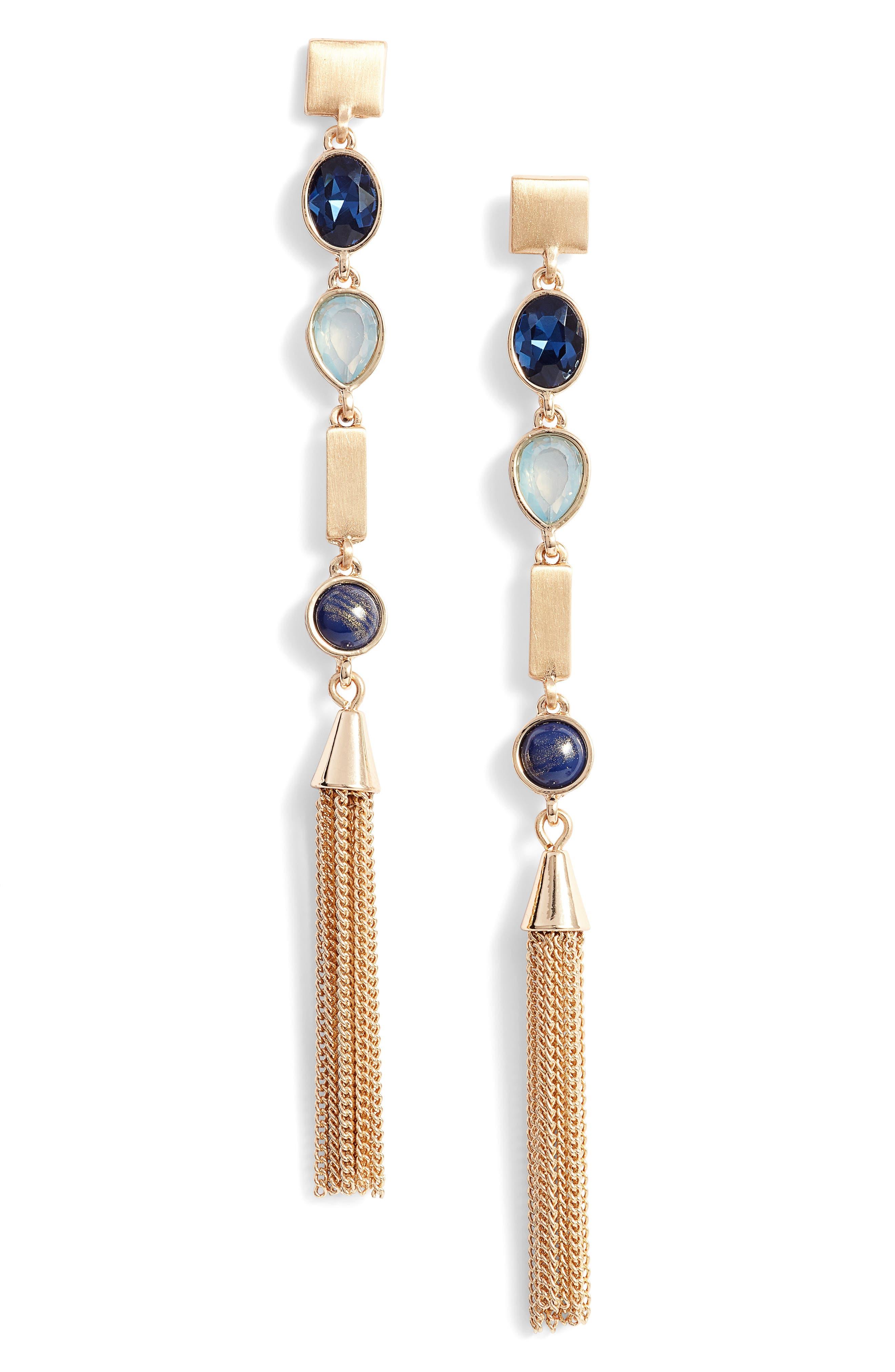 On the Rocks Linear Tassel Earrings,                         Main,                         color, 420