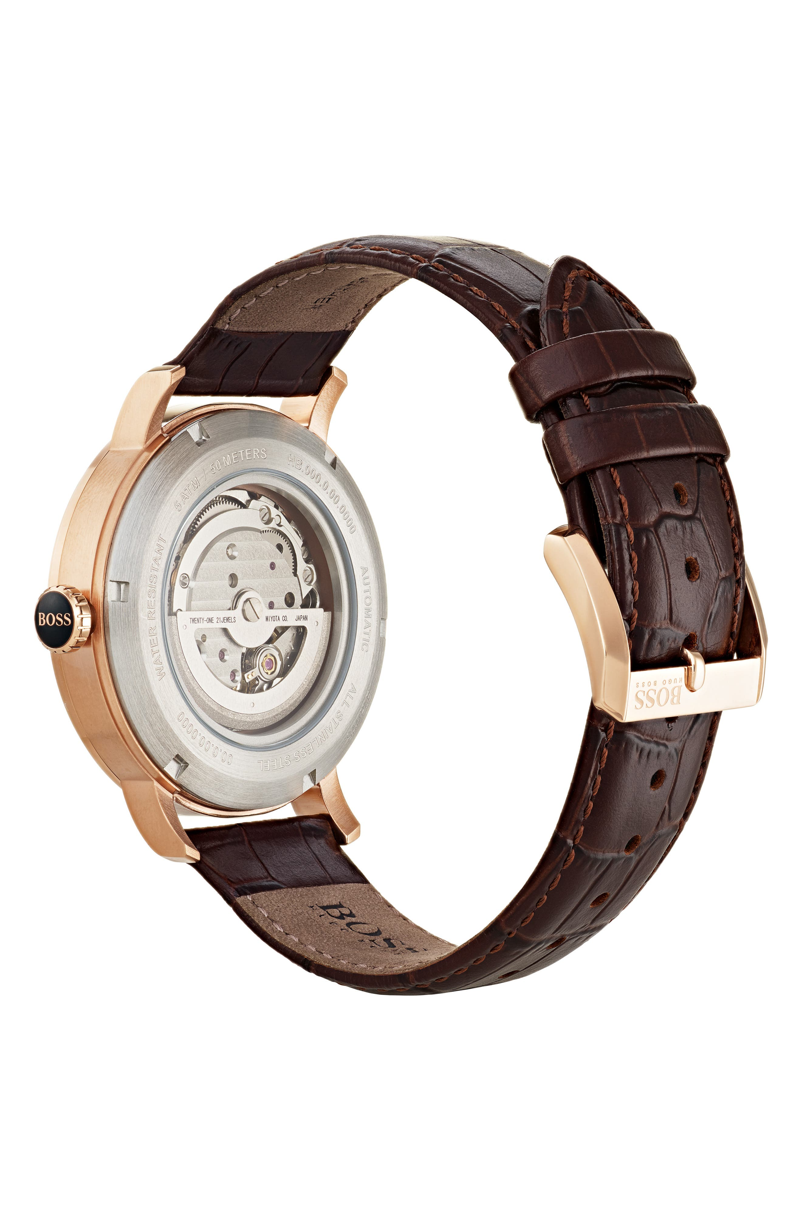 Signature Automatic Leather Strap Watch, 44mm,                             Alternate thumbnail 2, color,                             230