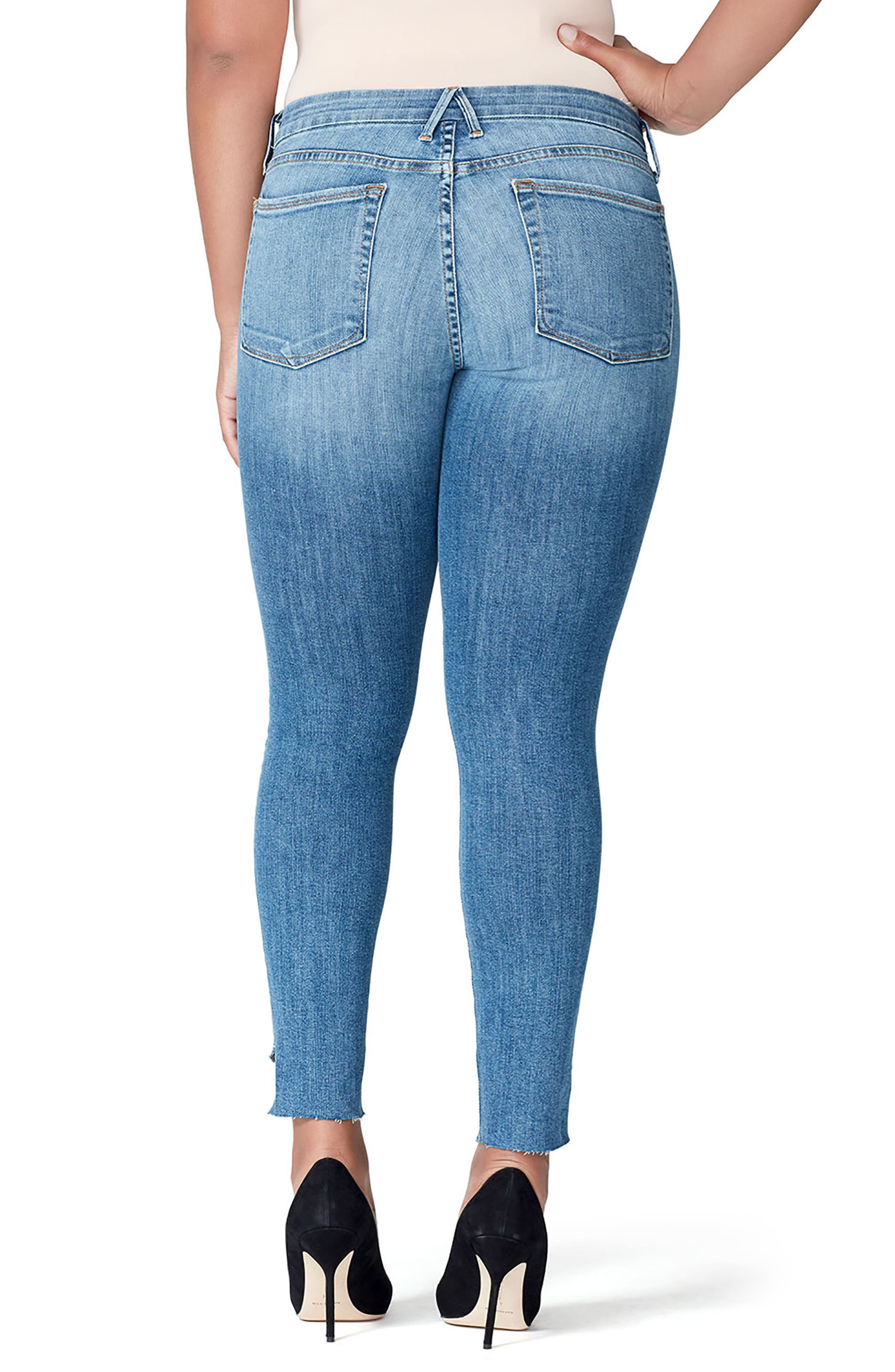 Good Mama The Honeymoon Low Rise Cascade Hem Maternity Skinny Jeans,                             Alternate thumbnail 2, color,                             BLUE
