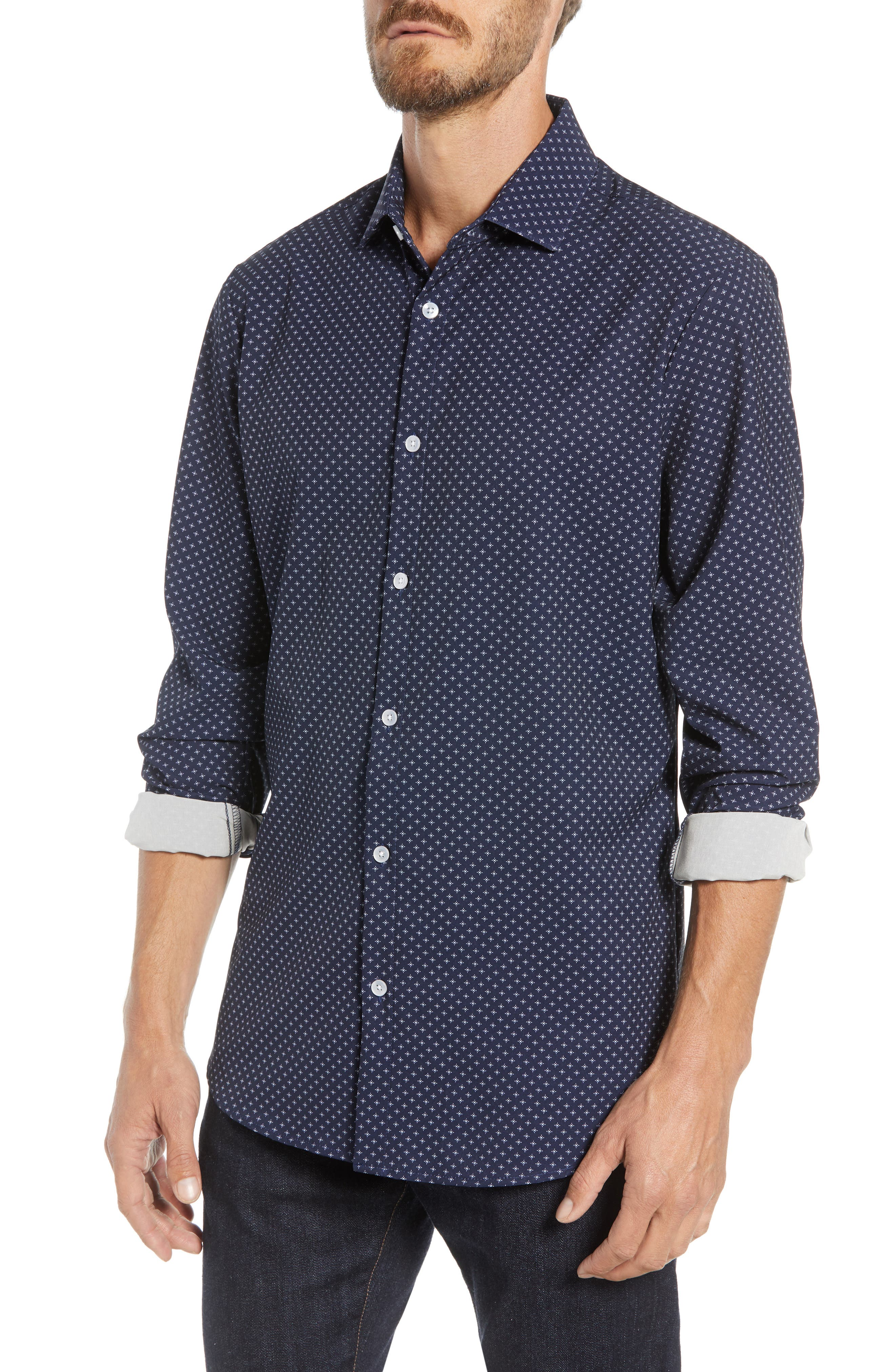 Ballard Regular Fit Print Performance Sport Shirt,                         Main,                         color, NAVY