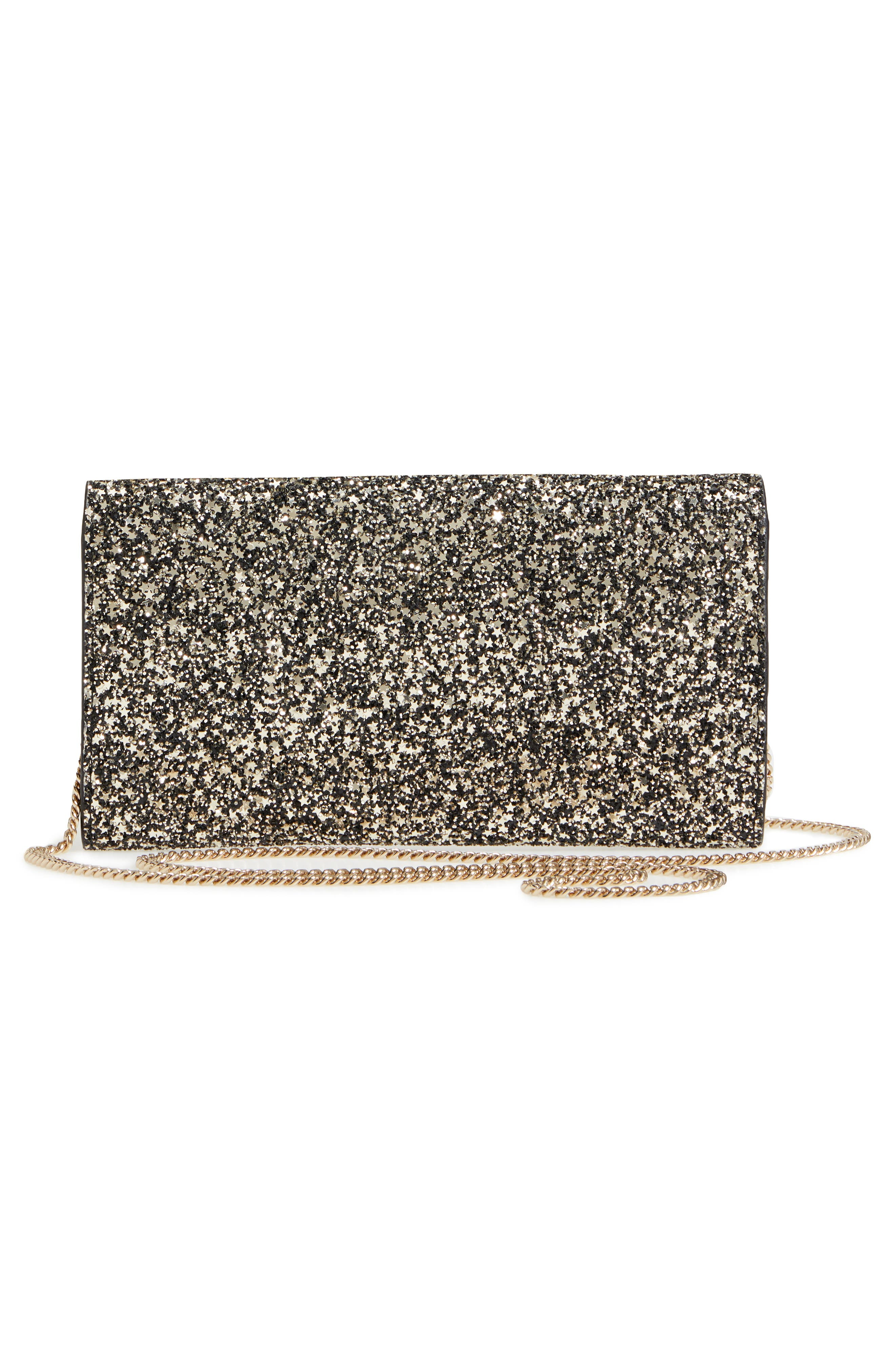 Emmie Star Glitter Clutch,                             Alternate thumbnail 3, color,                             GOLD MIX