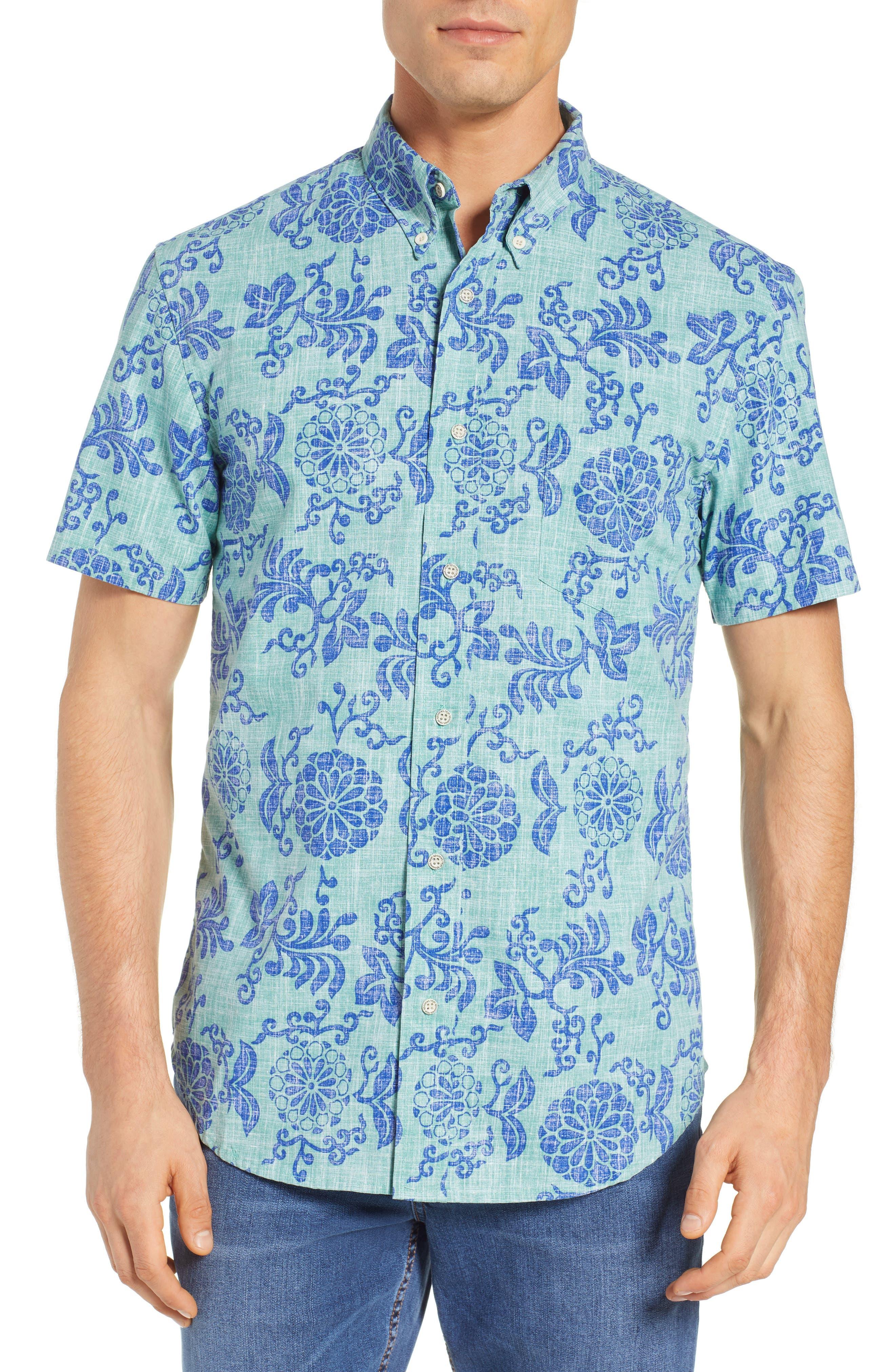 Royal Chrysanthemums Regular Fit Sport Shirt,                             Main thumbnail 1, color,                             MINT
