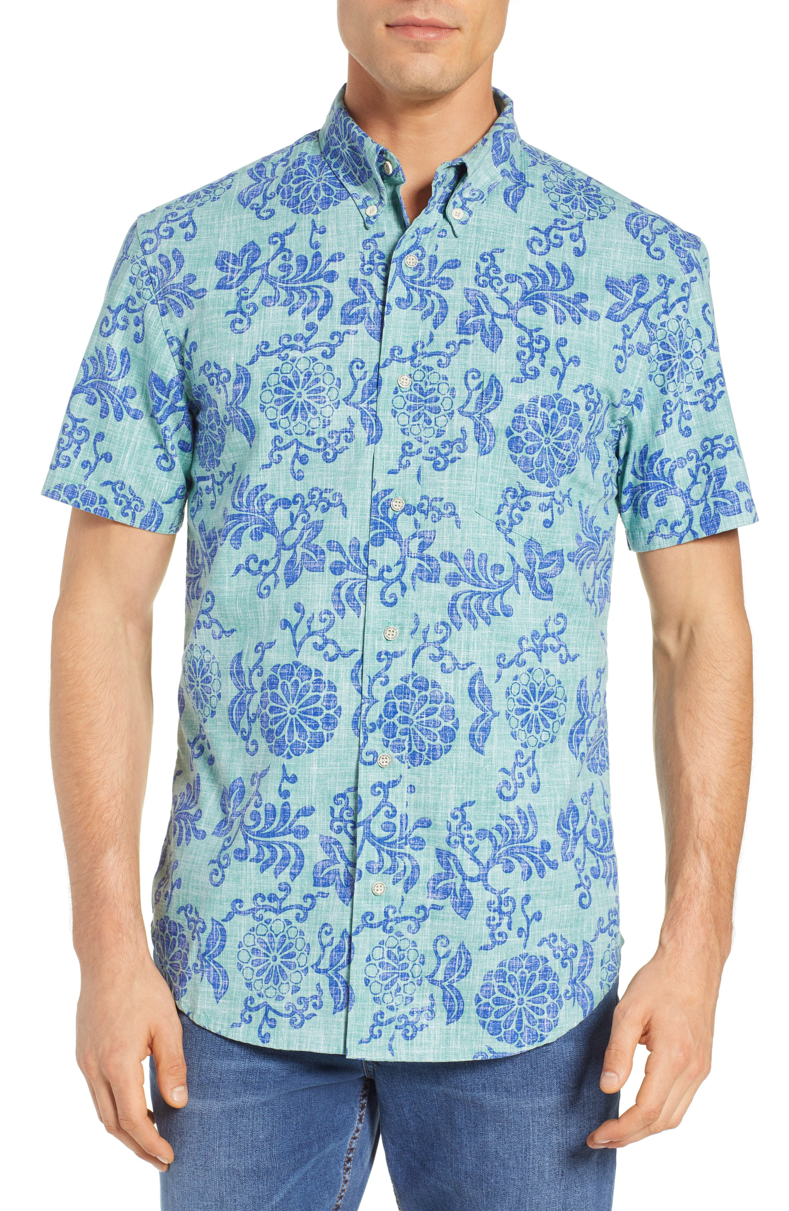 Royal Chrysanthemums Regular Fit Sport Shirt,                         Main,                         color, MINT