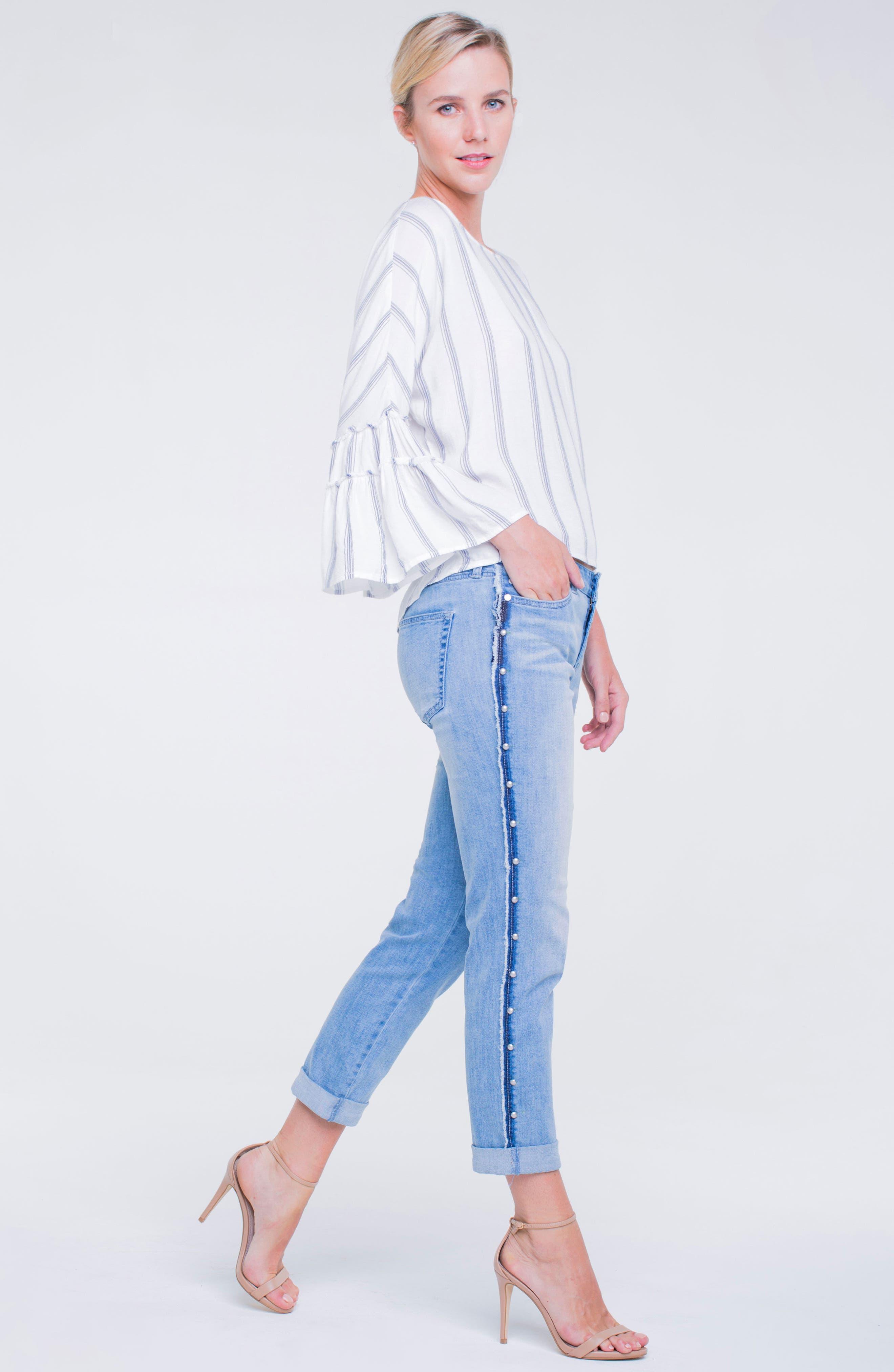 Perry Slim Side Stud Boyfriend Jeans,                             Alternate thumbnail 4, color,                             401