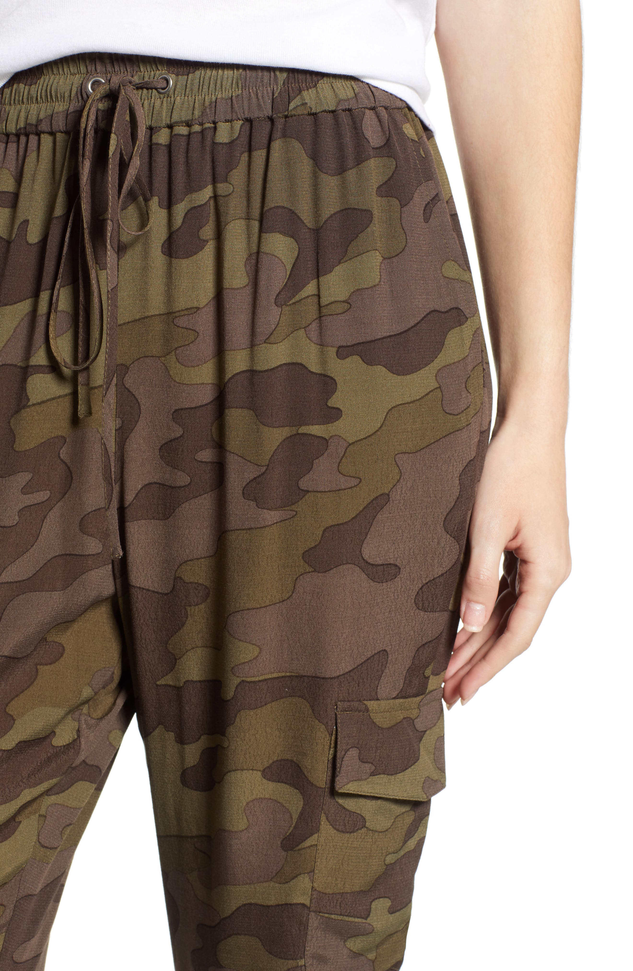 High Rise Camouflage Cargo Pants,                             Alternate thumbnail 6, color,                             210