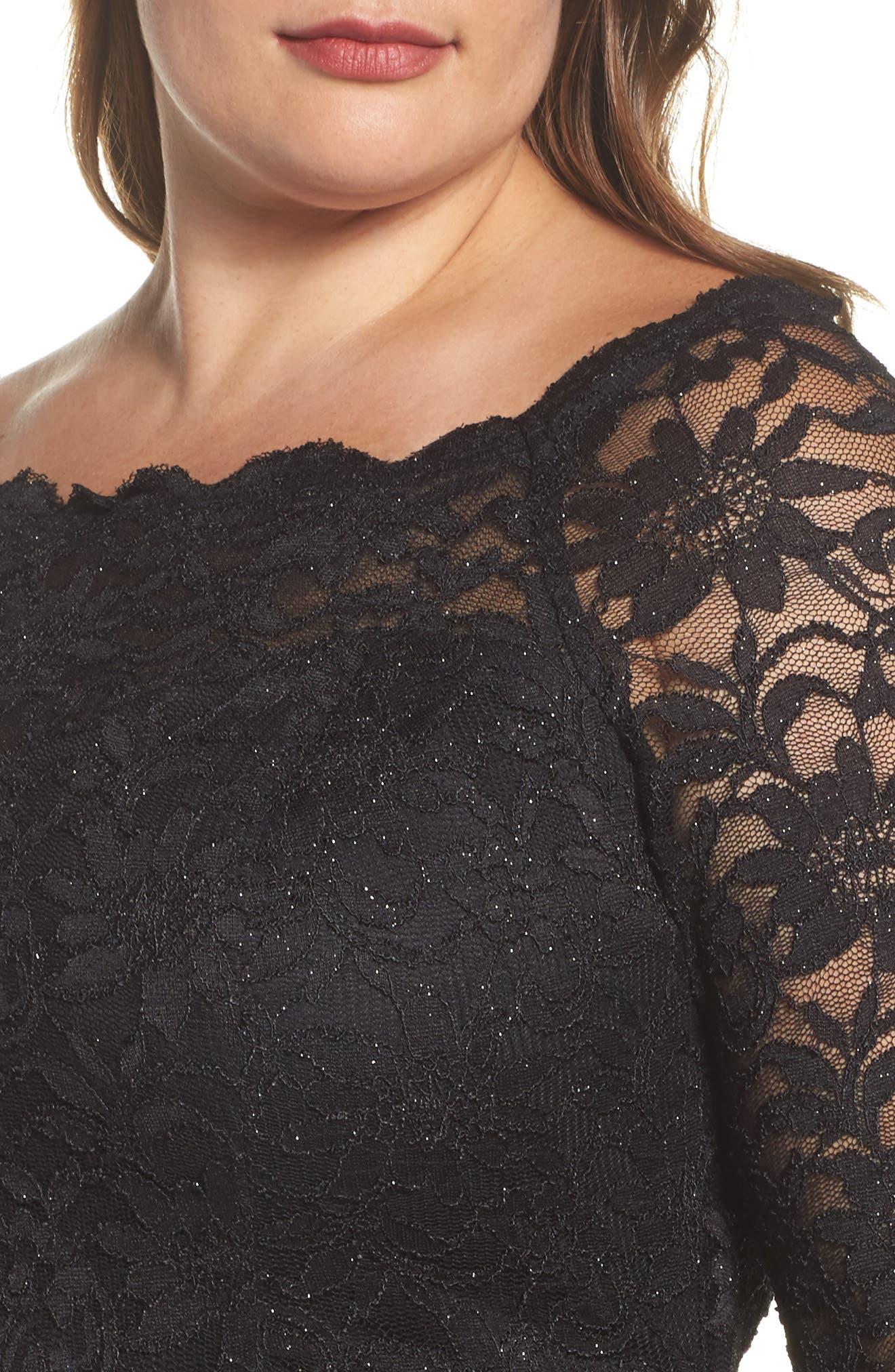 Glitter Lace Cocktail Dress,                             Alternate thumbnail 4, color,                             BLACK