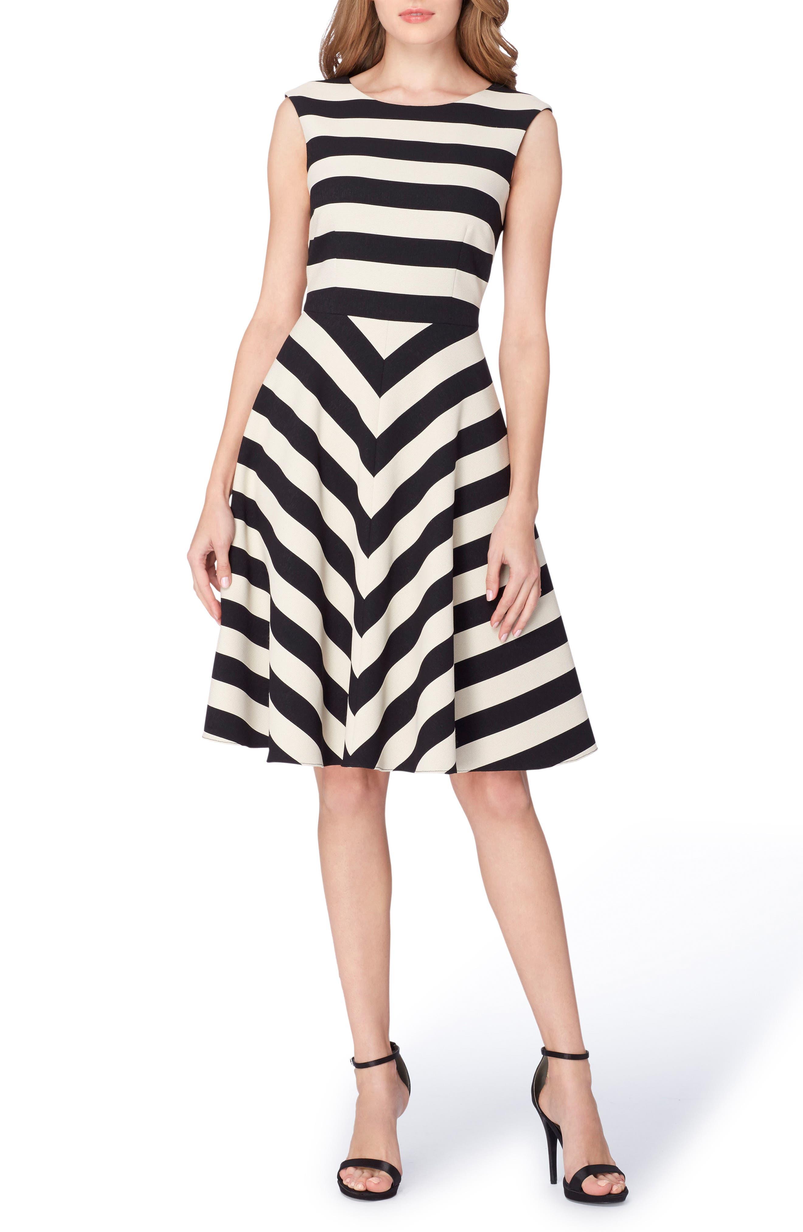 Stripe Scuba Fit & Flare Dress,                             Main thumbnail 1, color,                             001