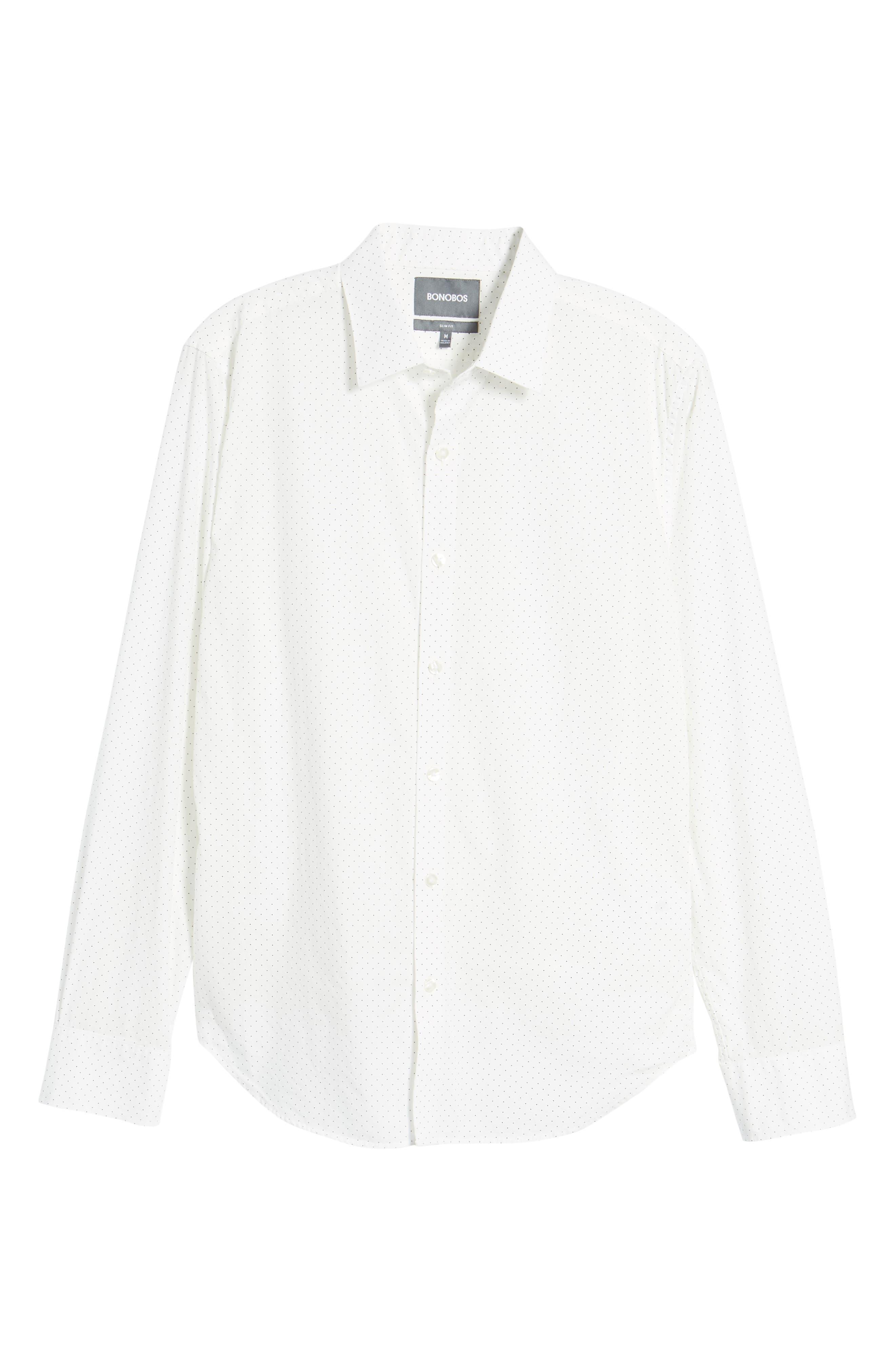 Unbutton Down 2.0 Slim Fit Dot Sport Shirt,                             Alternate thumbnail 6, color,                             100