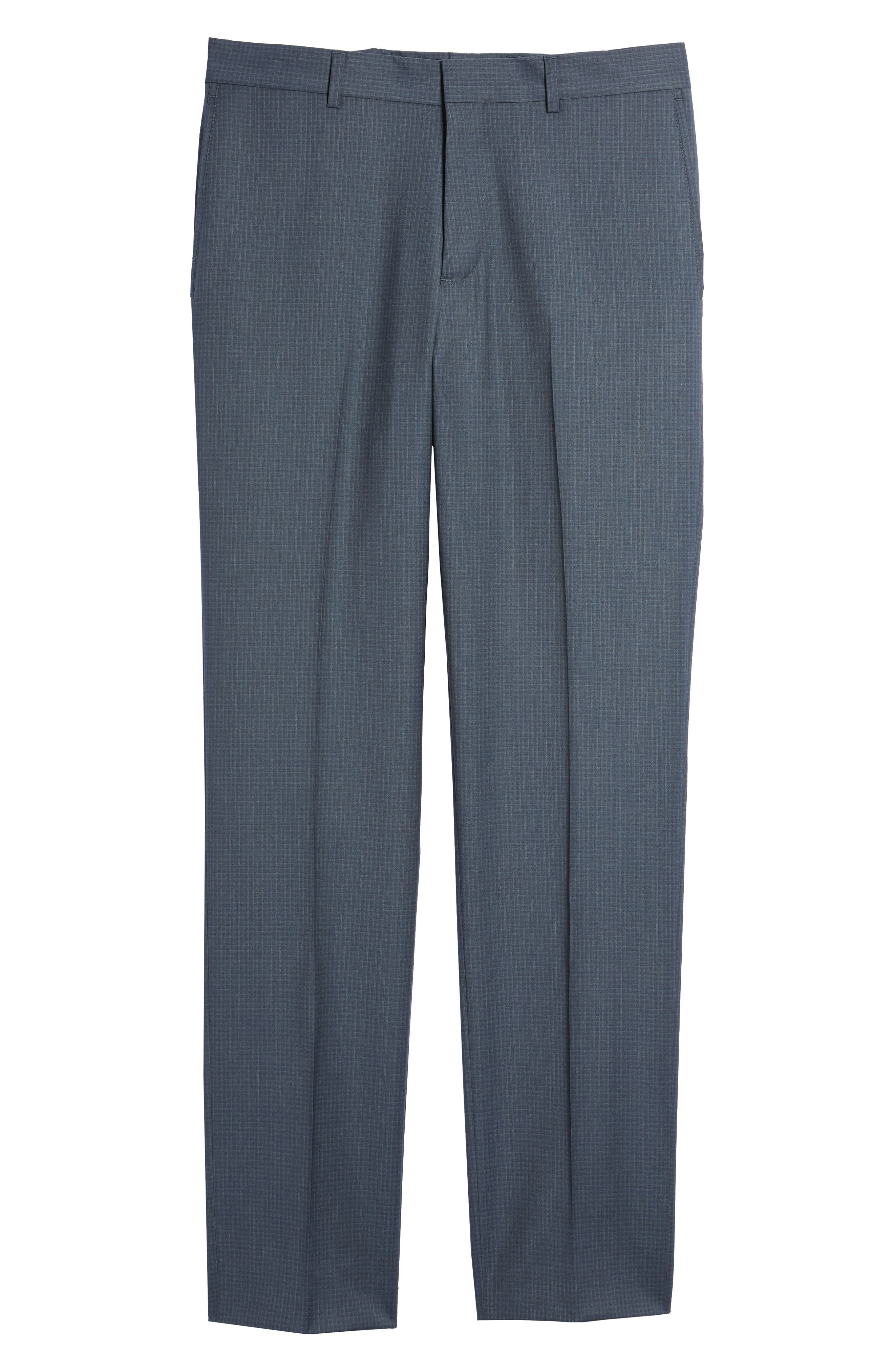 Tech-Smart Check Flat Front Stretch Wool Pants,                             Alternate thumbnail 6, color,                             030
