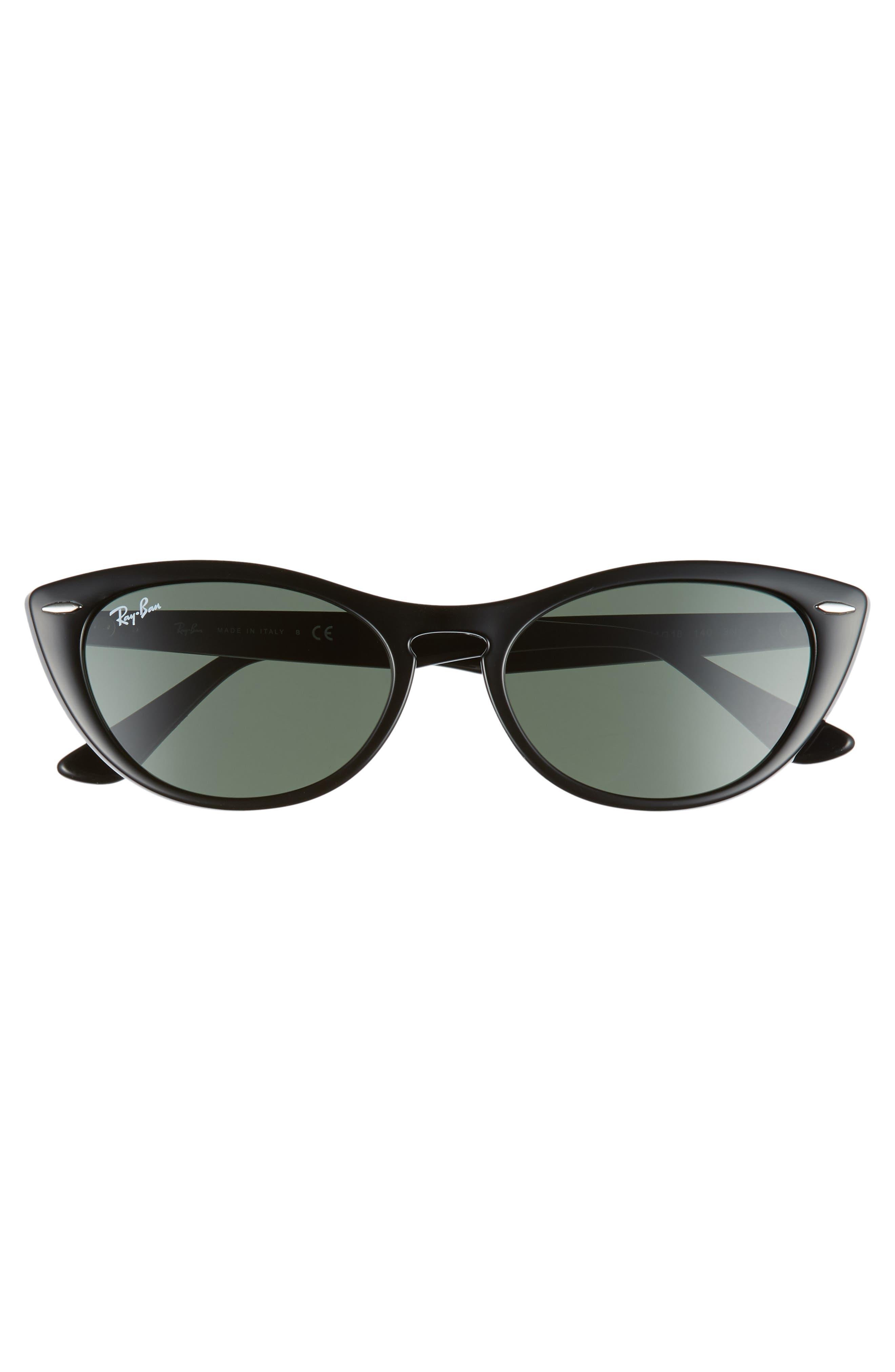 Nina 54mm Cat Eye Sunglasses,                             Alternate thumbnail 3, color,                             BLACK/ GREEN SOLID