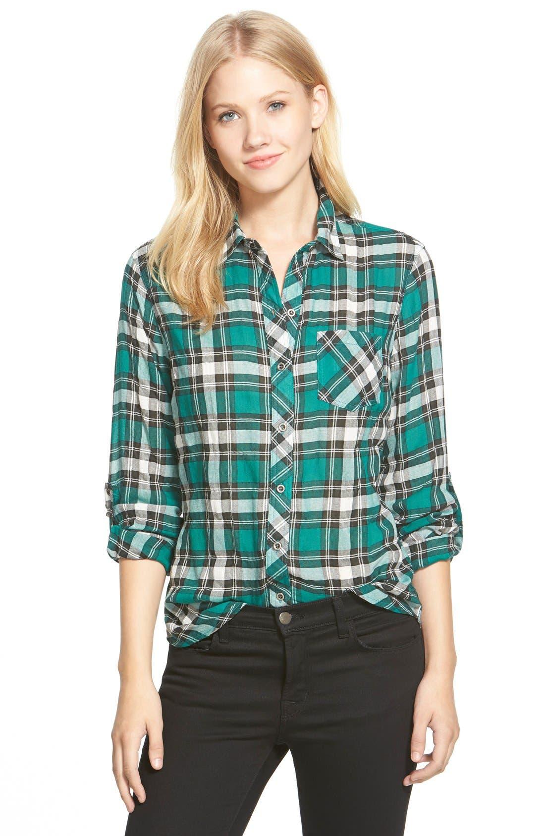 Roll Sleeve Woven Plaid Shirt, Main, color, 300