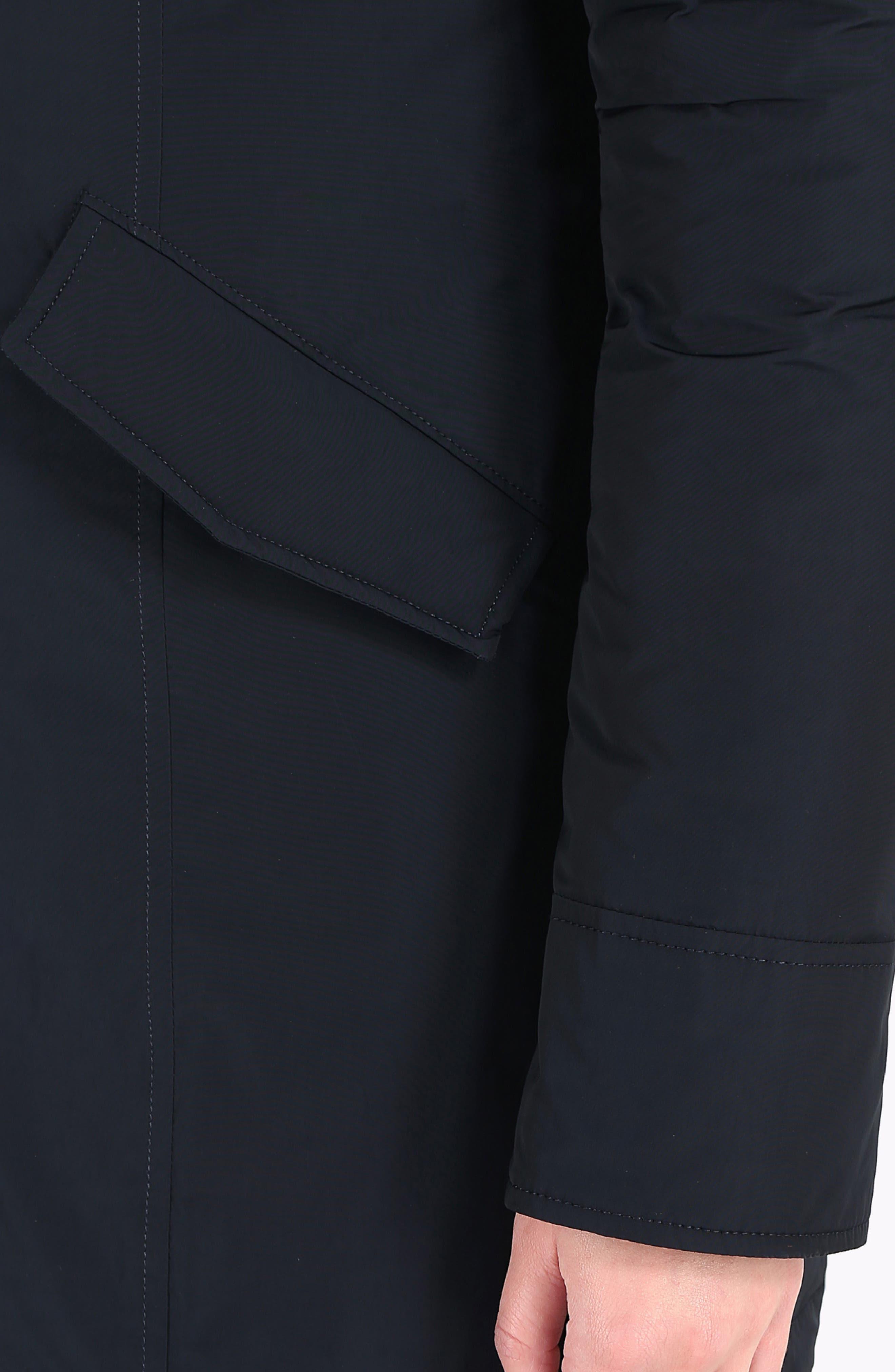 Luxury Arctic Down Parka with Genuine Fox Fur Trim,                             Alternate thumbnail 8, color,                             MIDNIGHT BLUE