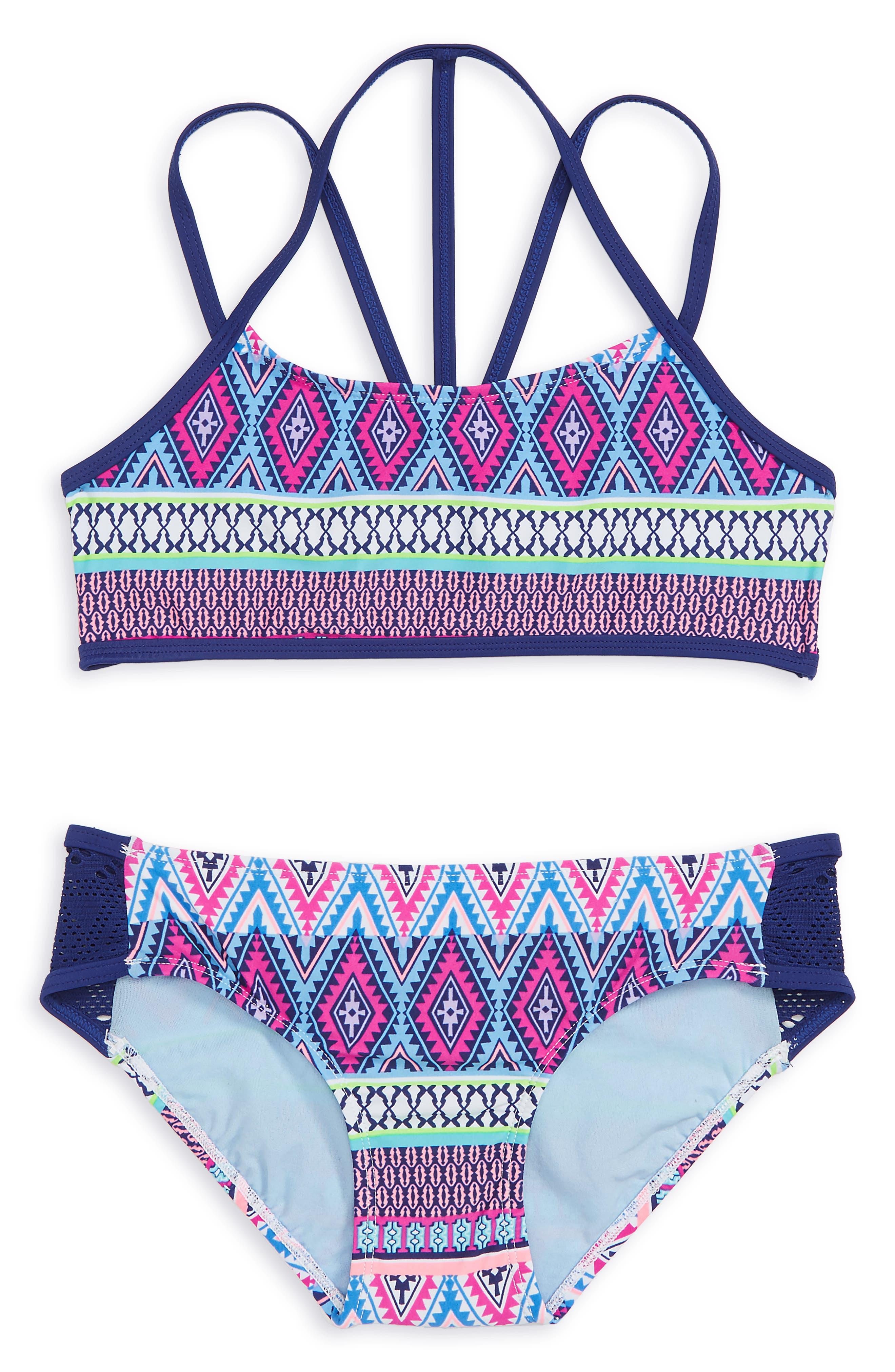 Stripe Fusion Two-Piece Swimsuit,                         Main,                         color, 476